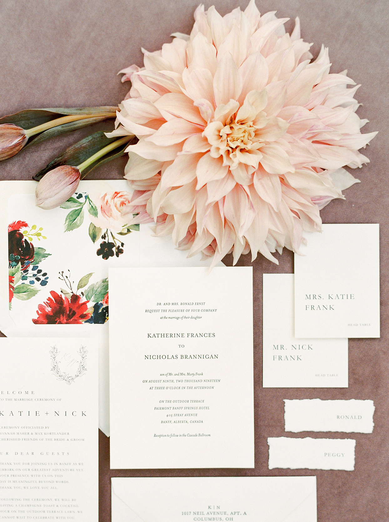 katie nicholas wedding invitations and flower