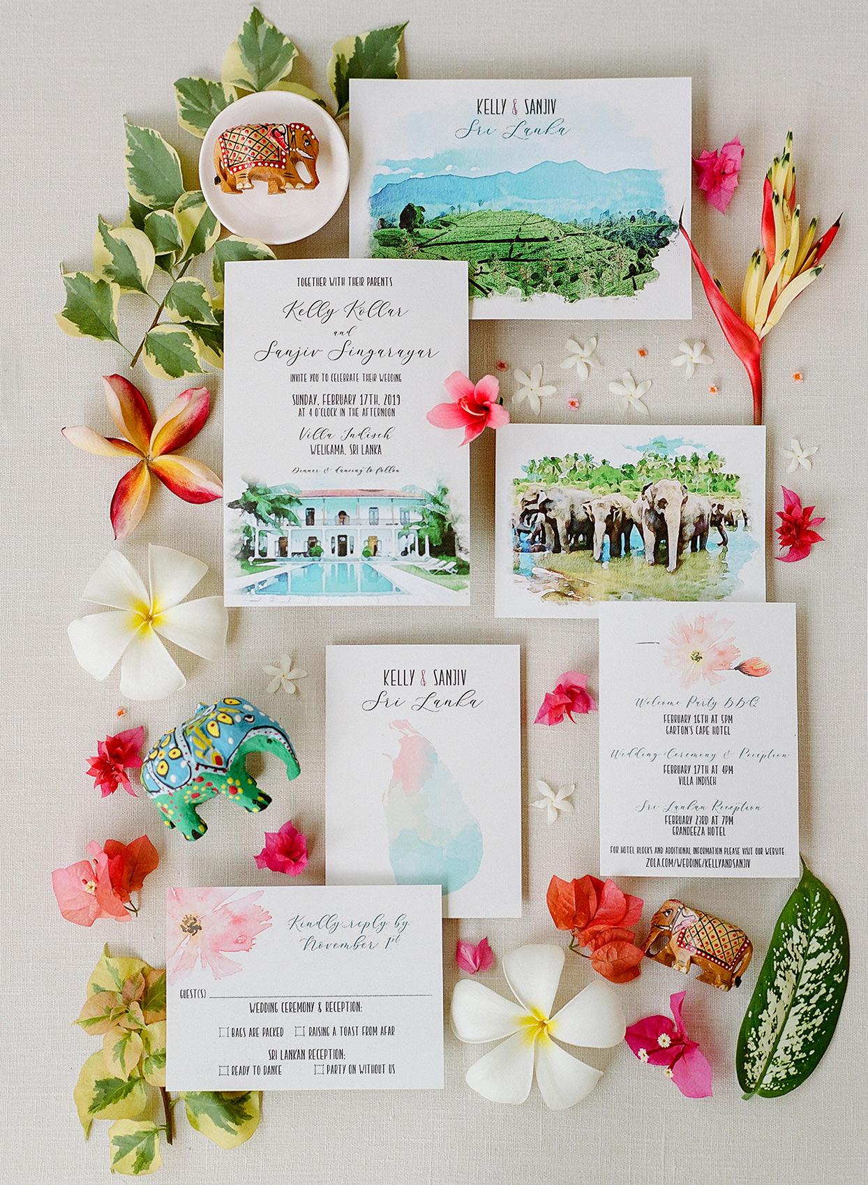 kelly sanjiv wedding colorful invitations