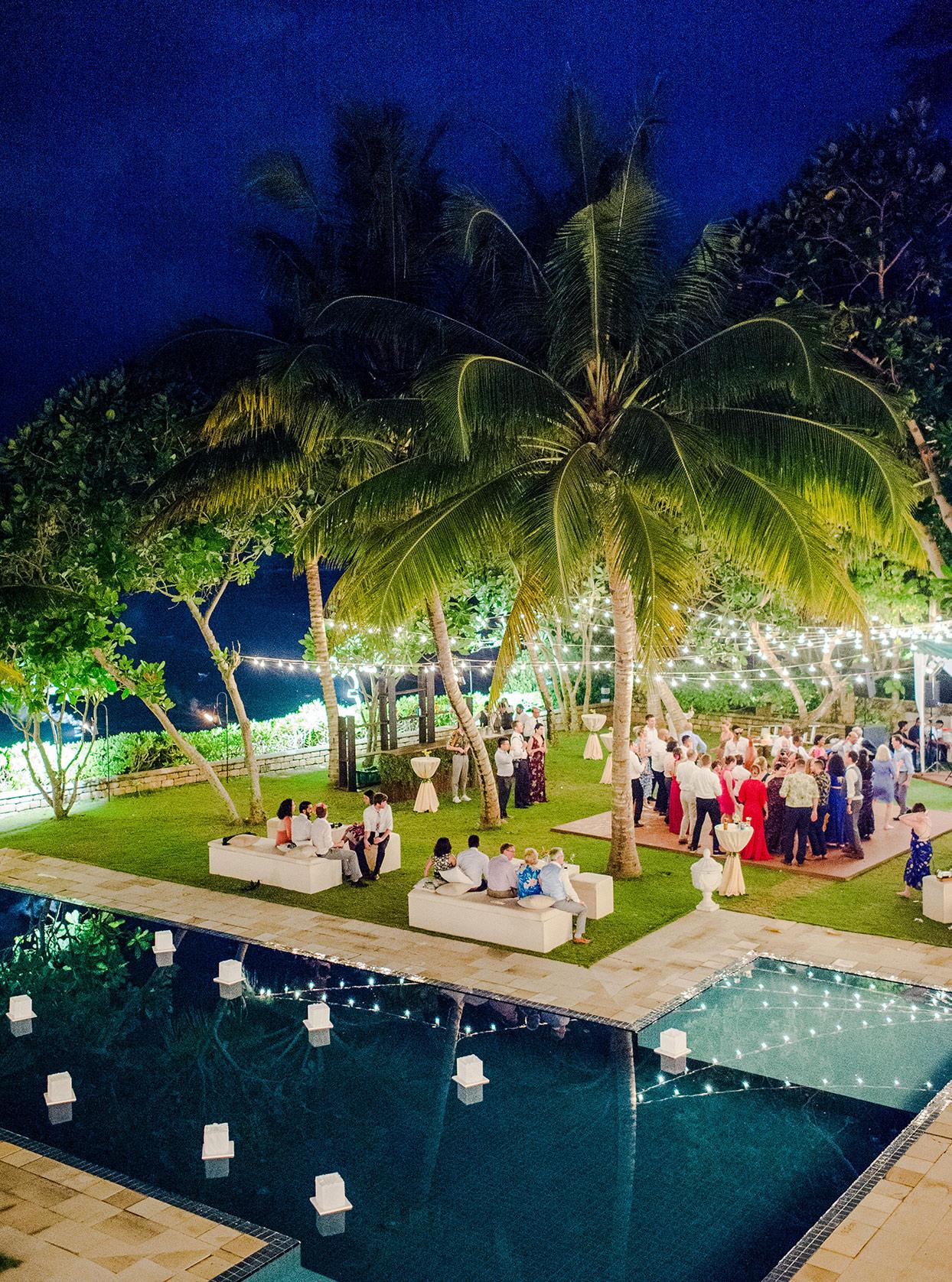kelly sanjiv wedding reception party by pool