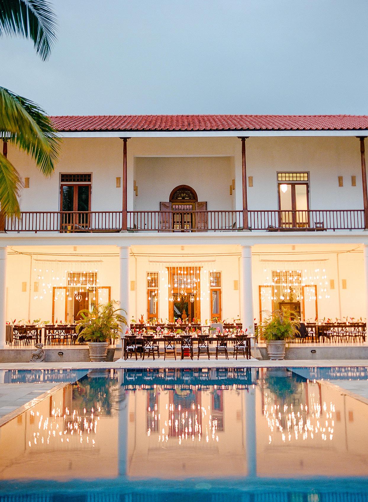 kelly sanjiv wedding reception space by pool