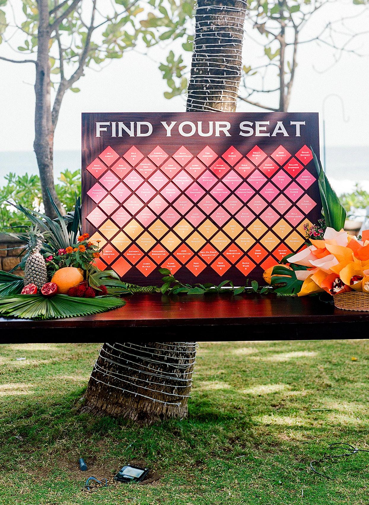 kelly sanjiv colorful wedding seating chart