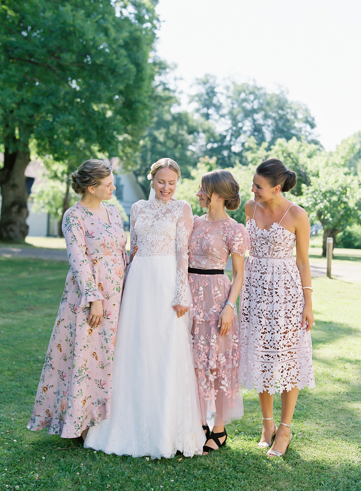 laura alexander wedding bridesmaids in white and pink