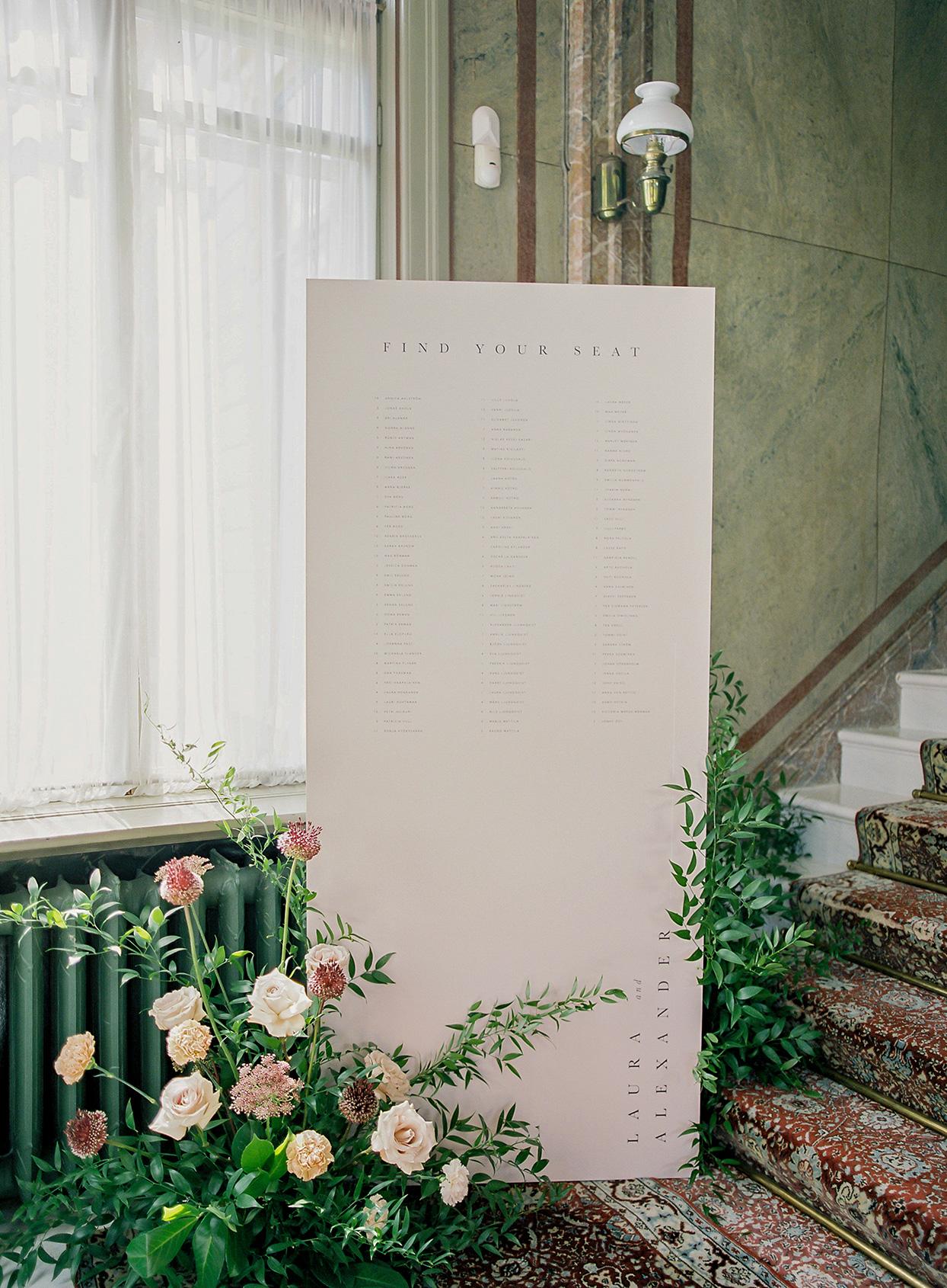 laura alexander wedding reception seating chart board