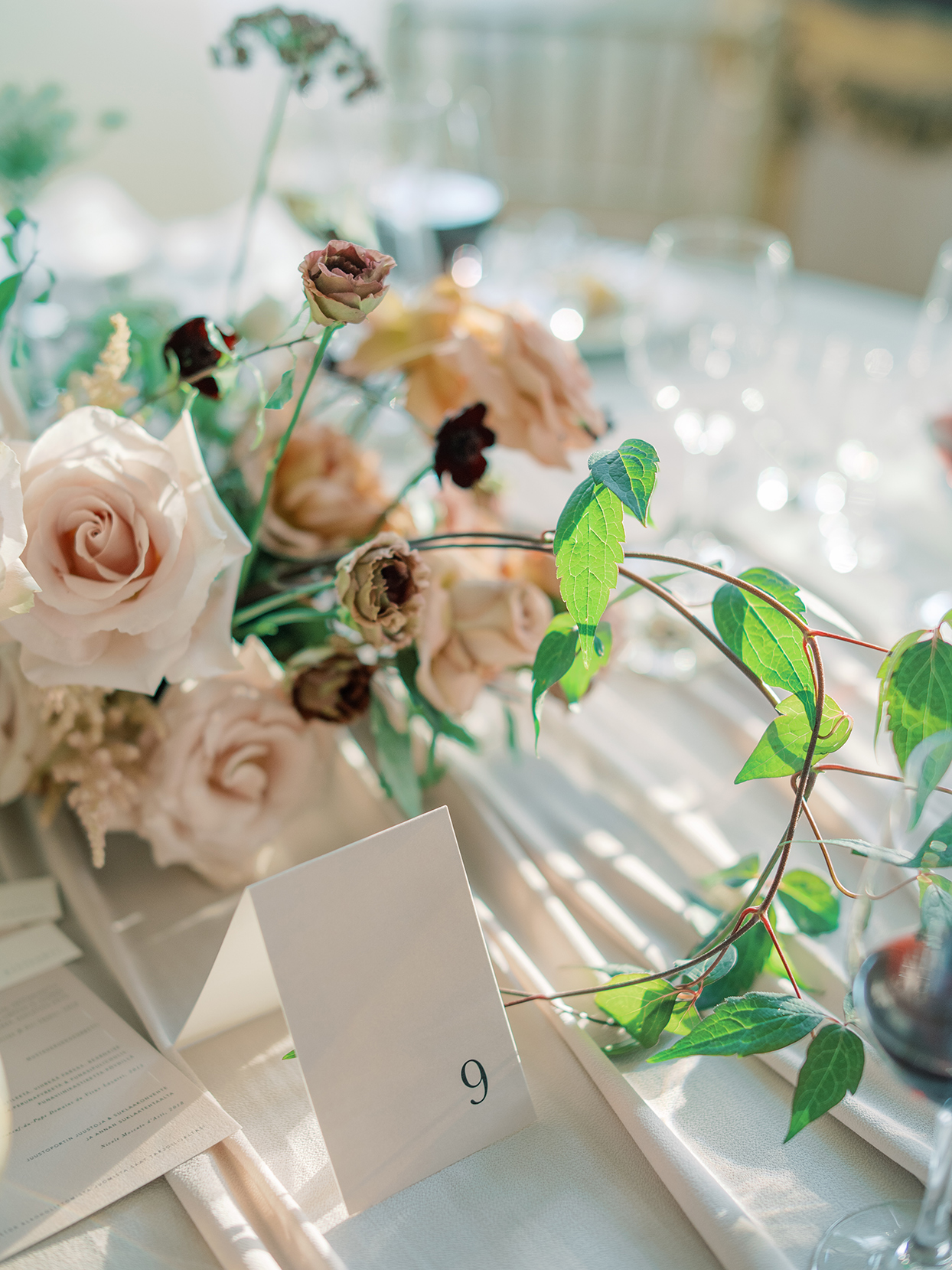laura alexander wedding table numbers and flowers