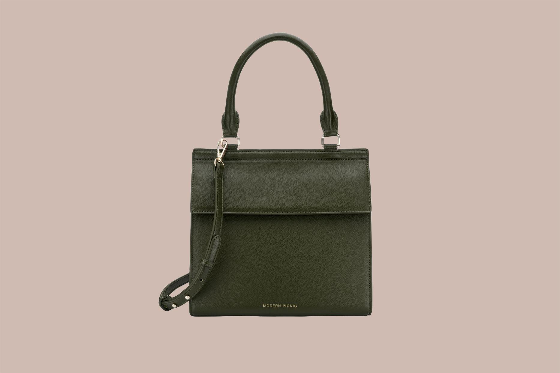 dark green modern picnic purse