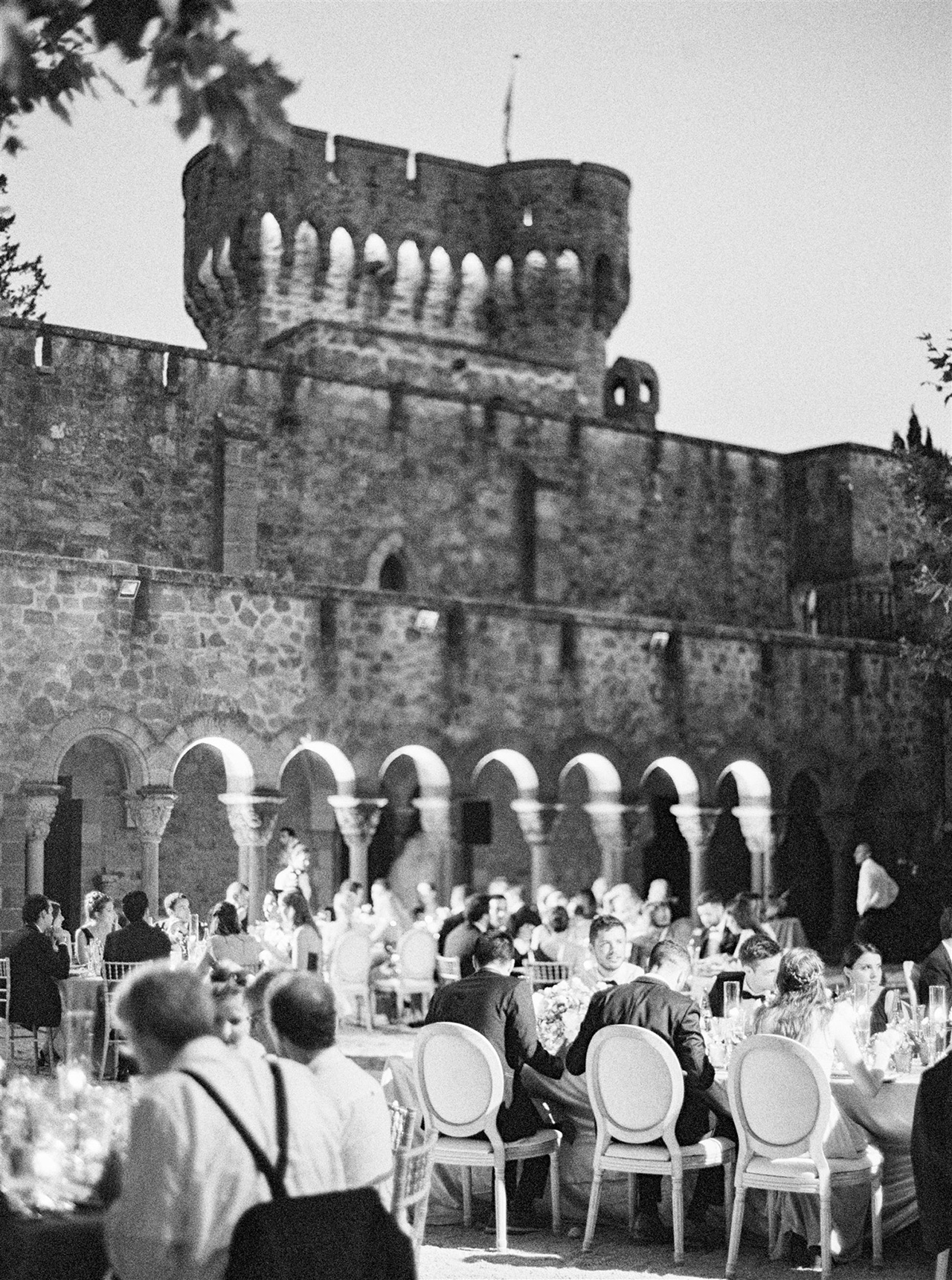 outdoor wedding reception guests historic castle