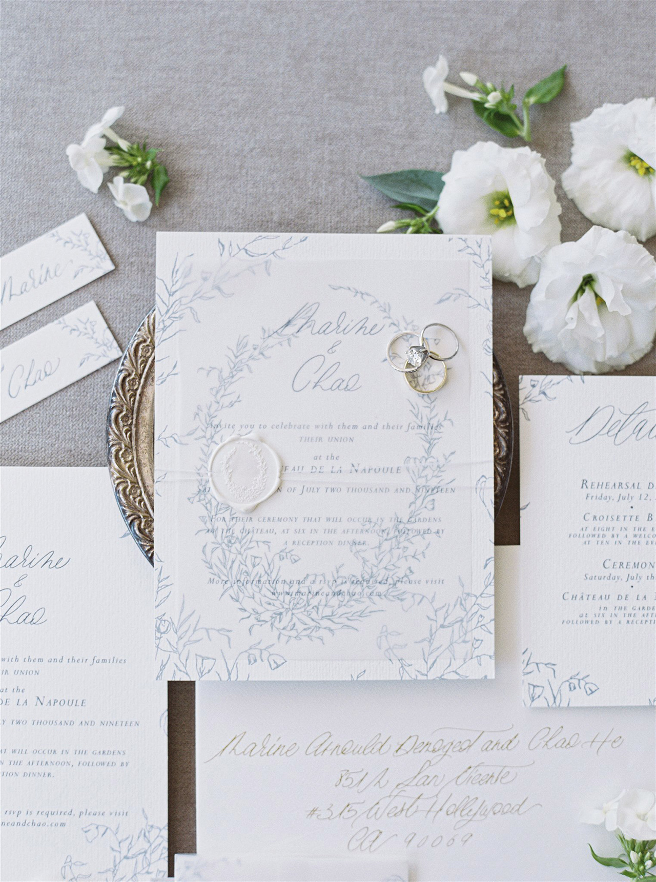 custom design invitation white blue print