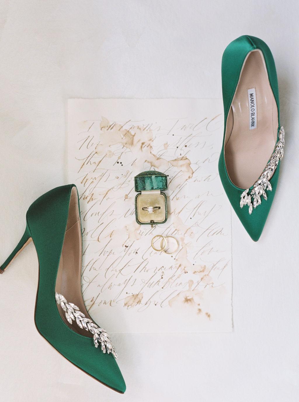 megan henock wedding bride's emerald shoes