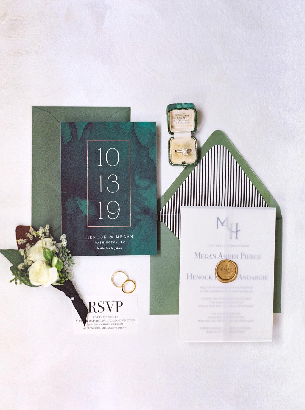 megan henock wedding invitation suite in green, black and white