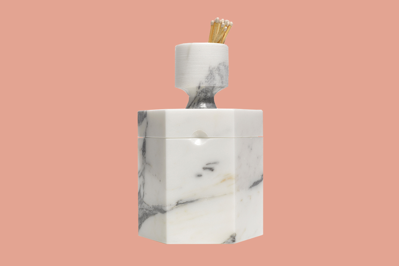 marble candle with matches