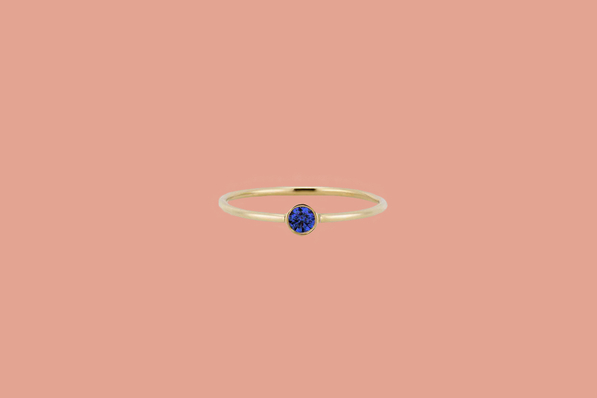 blue sapphire gold band ring