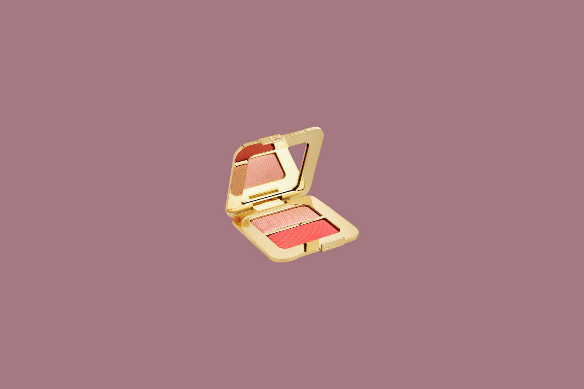 blush duo in gold case with mirror