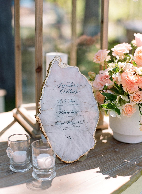 Natalie and Grant wedding calligraphed agate slice cocktail menu sign