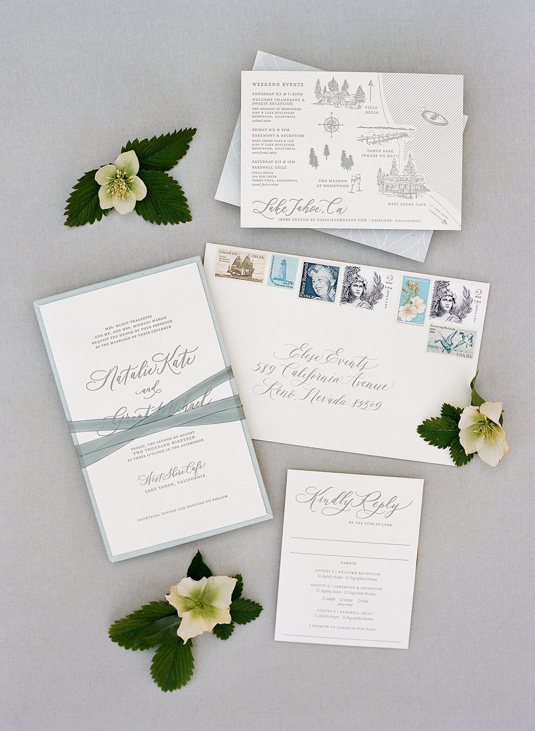 Natalie and Grant wedding gray blue classic invitation suite