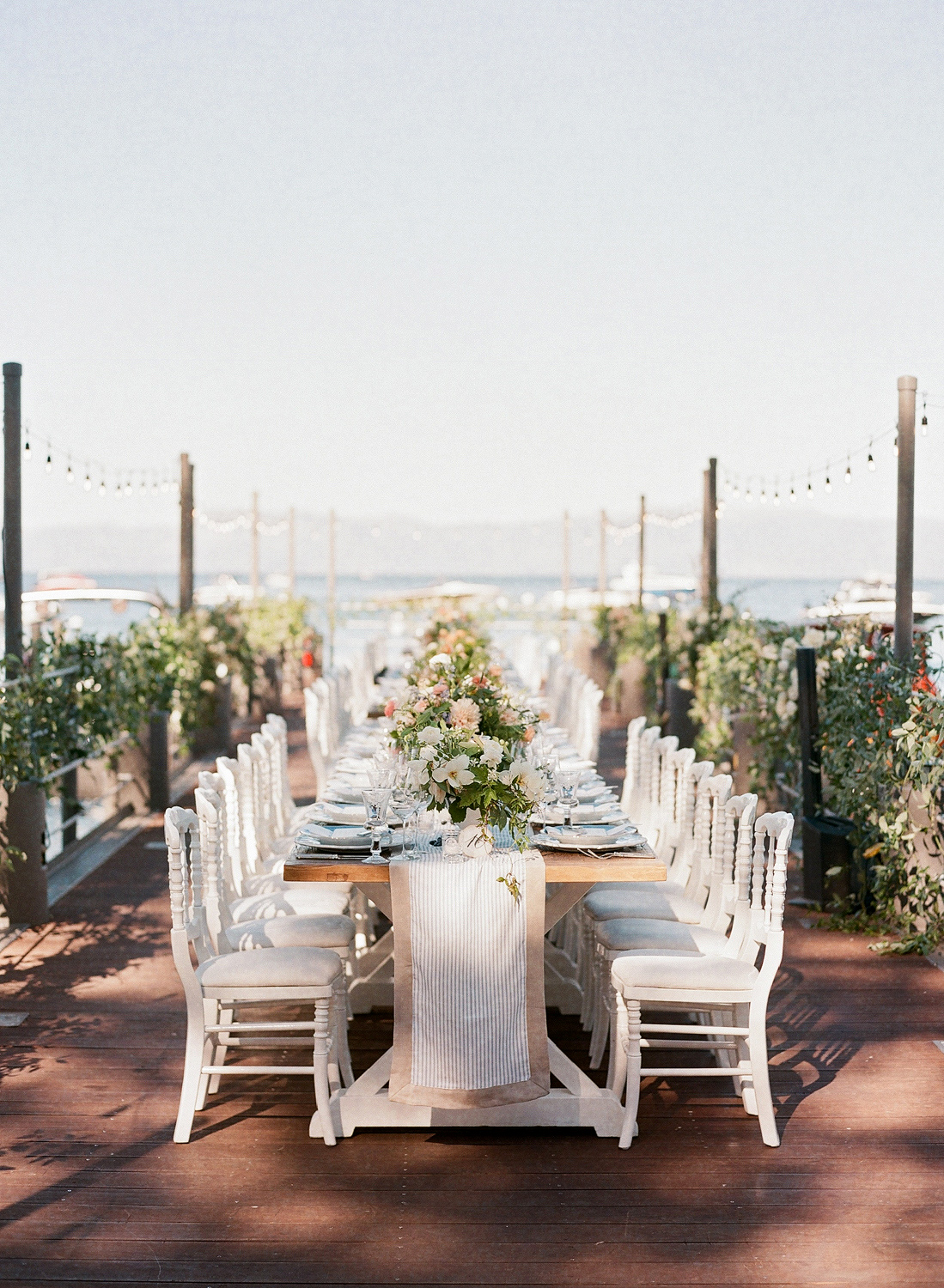 Natalie and Grant wedding outdoor farm table with table runner