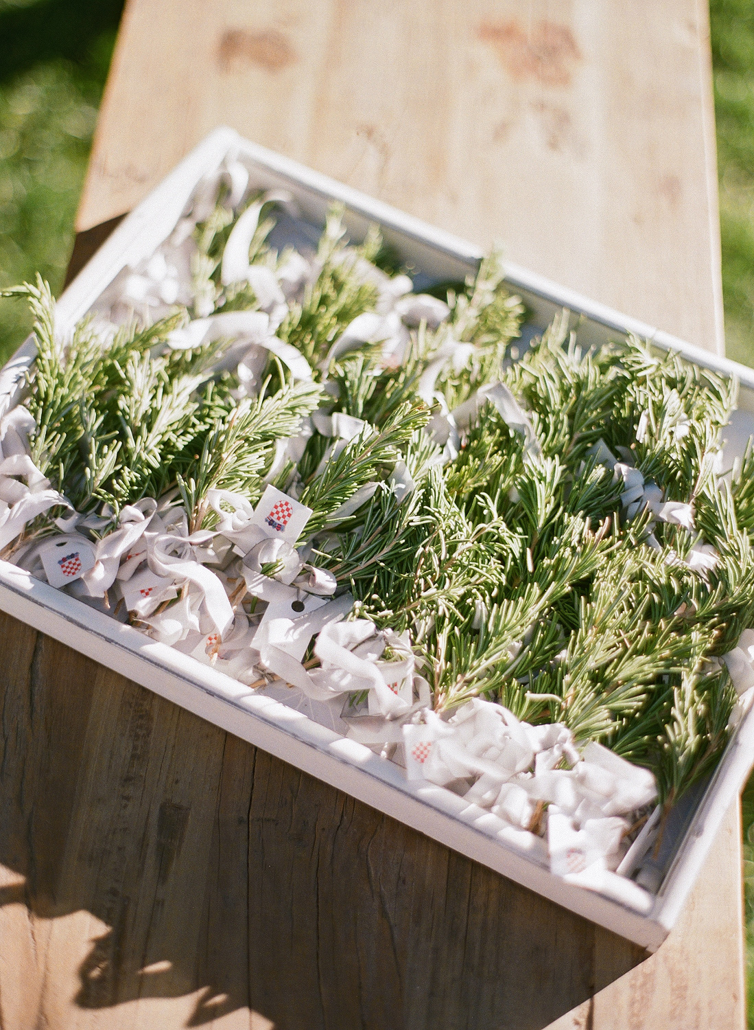 Natalie and Grant wedding Croatian rosemary bunches for lapels