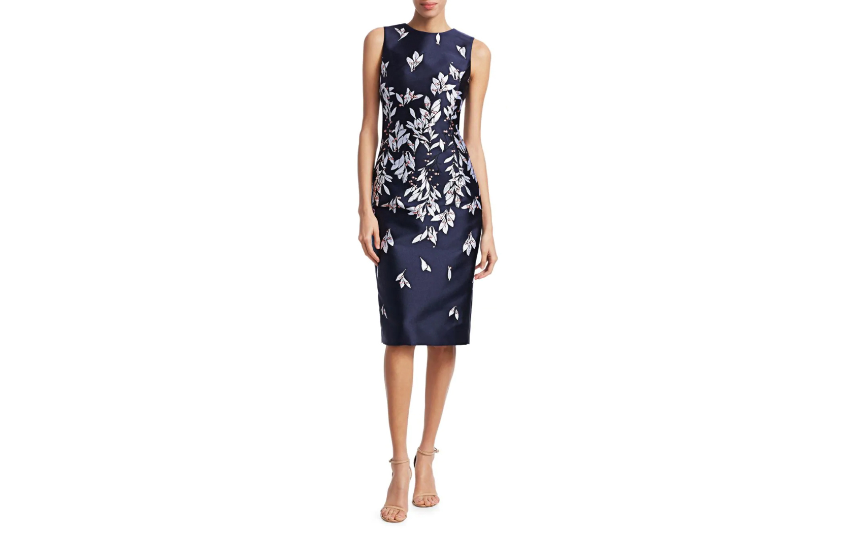 Oscar de la Renta Embroidered Floral Knee-Length Dress