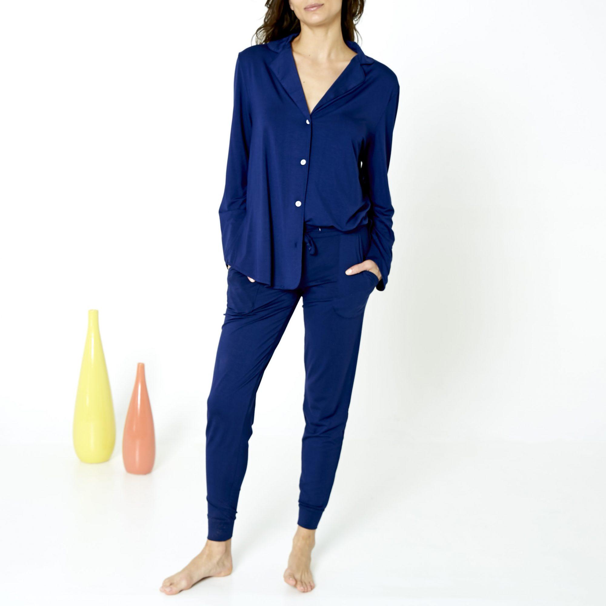 Recliner Navy Blue Cotton Pajama Set