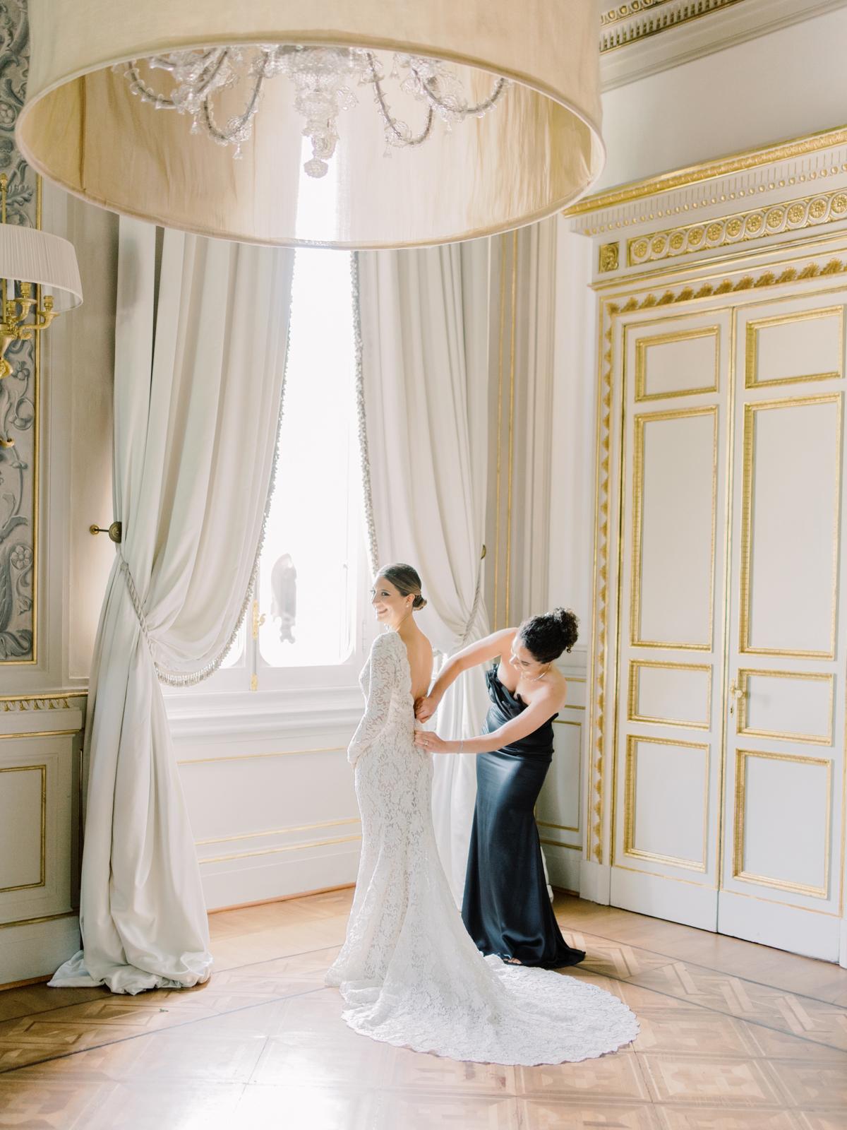 saghar ben wedding bride in dress by window