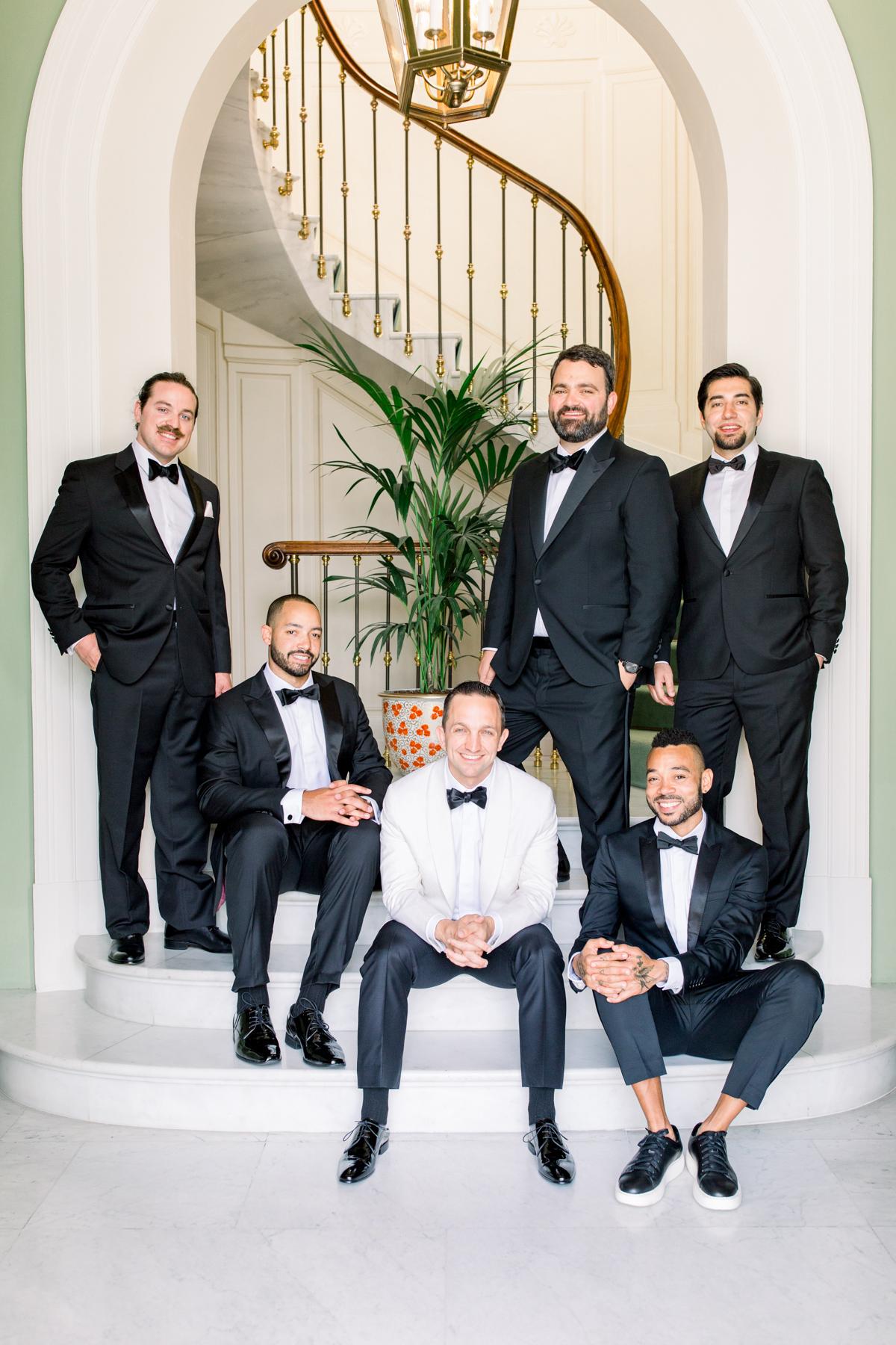 saghar ben wedding groomsmen on stairs