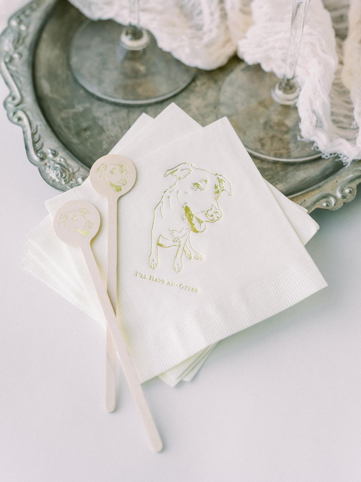 saghar ben wedding stirrers and napkins