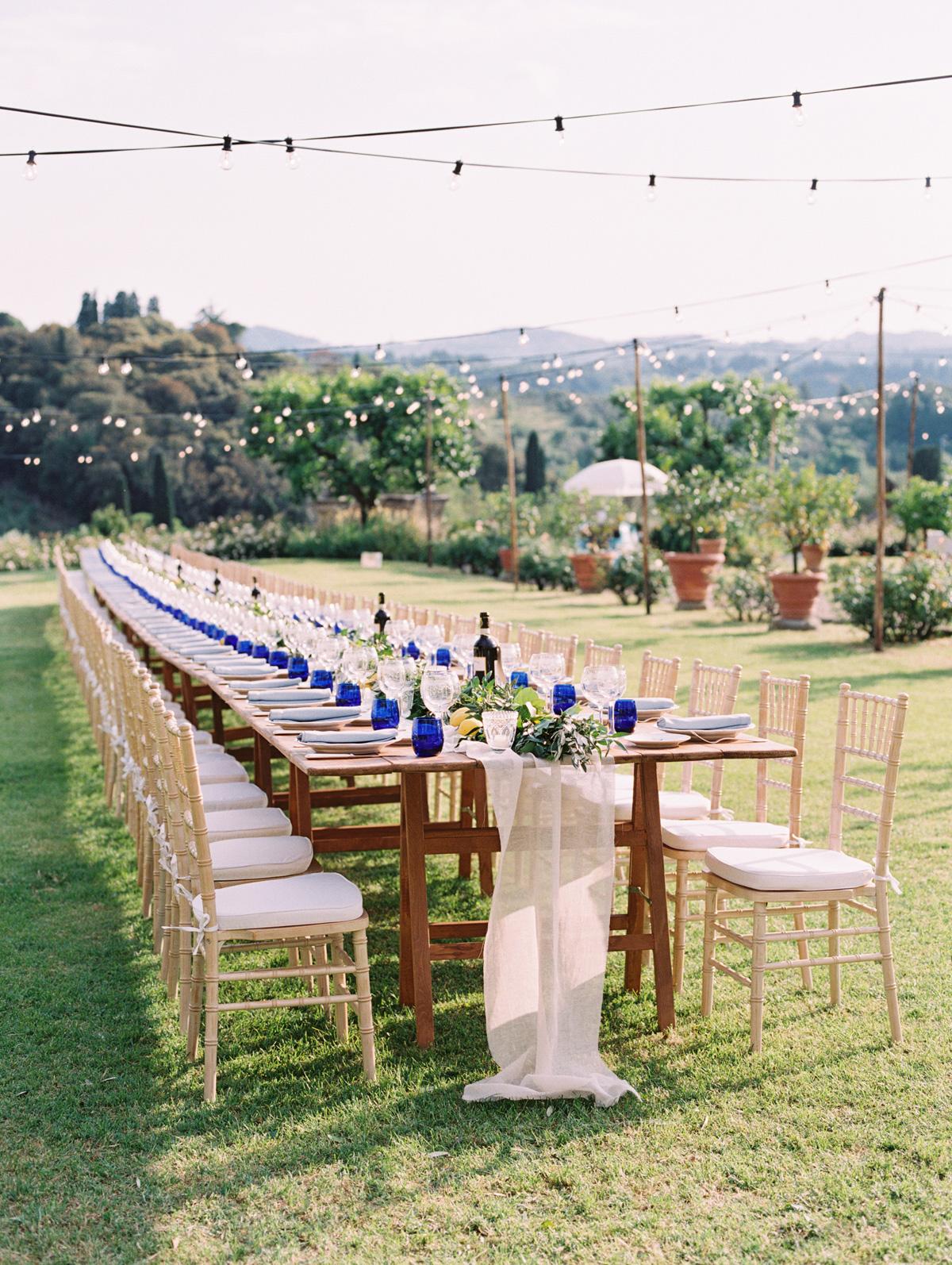 saghar ben wedding welcome dinner long table