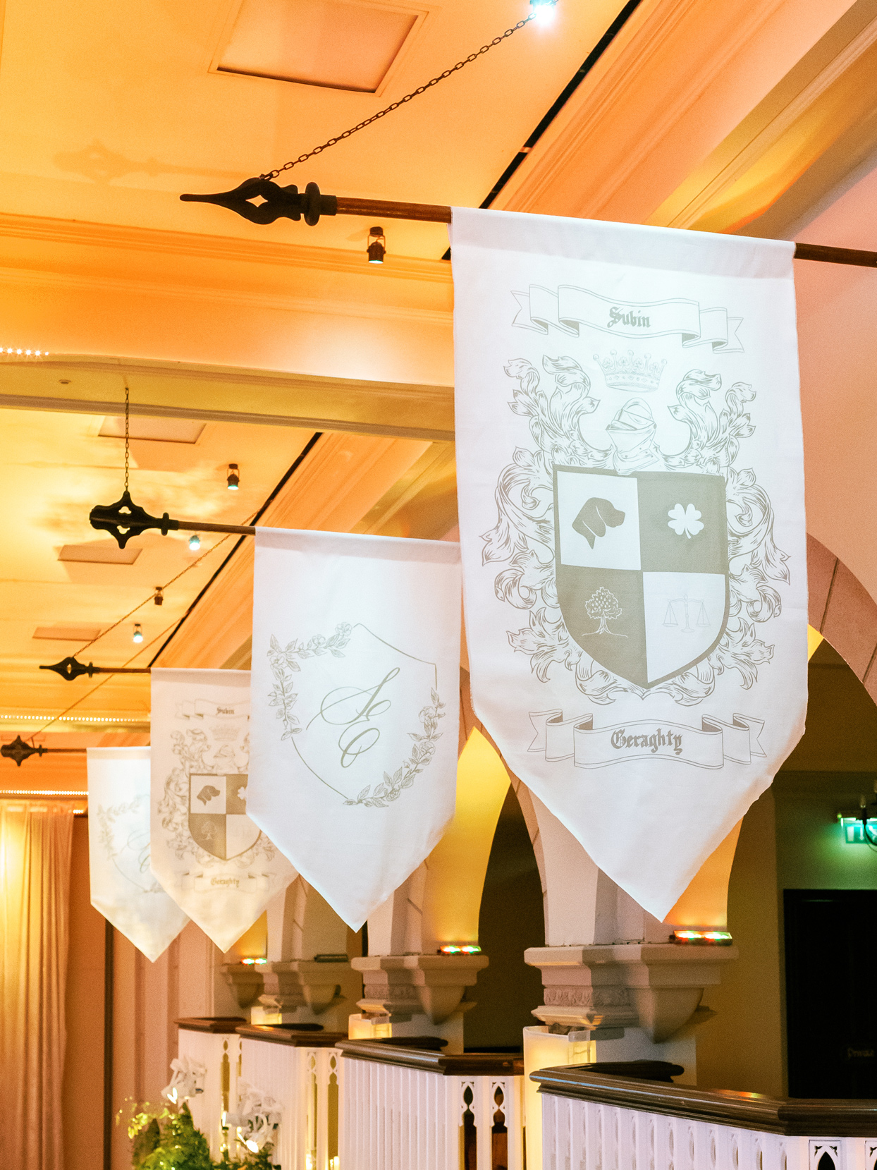 wedding banner flags with crests designed from bride and groom's relationship
