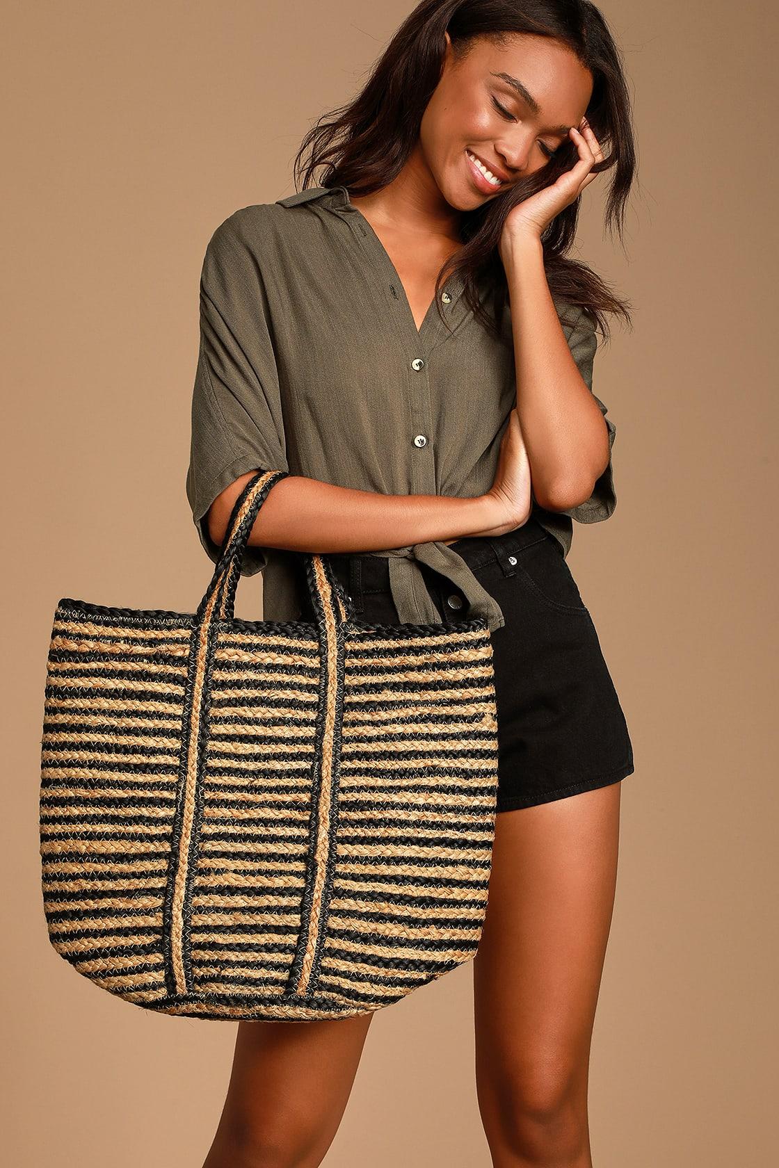 "Lulus ""Danine"" Black Striped Woven Tote Bag"
