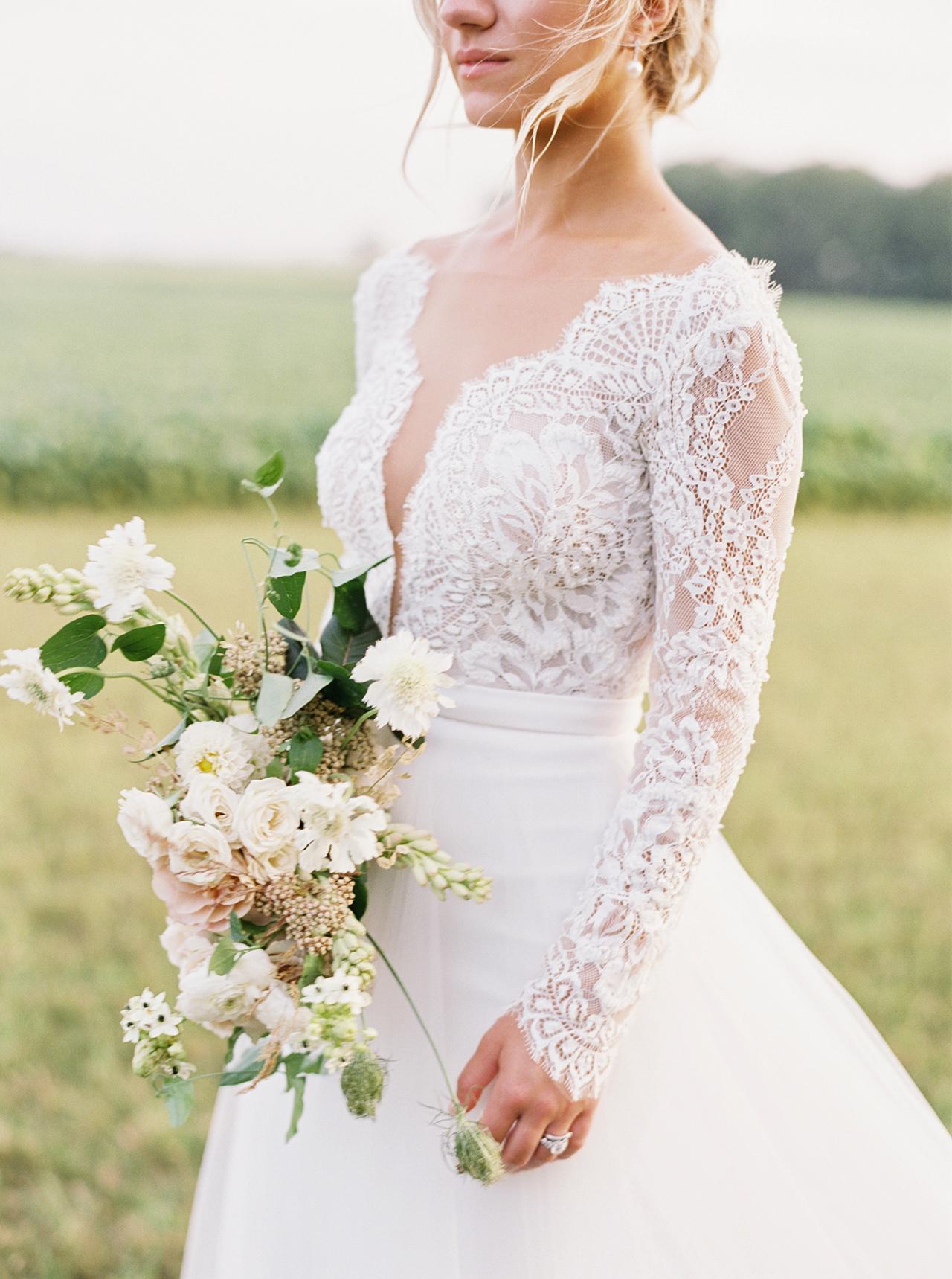 v-nick long sleeve wedding dress white boquet