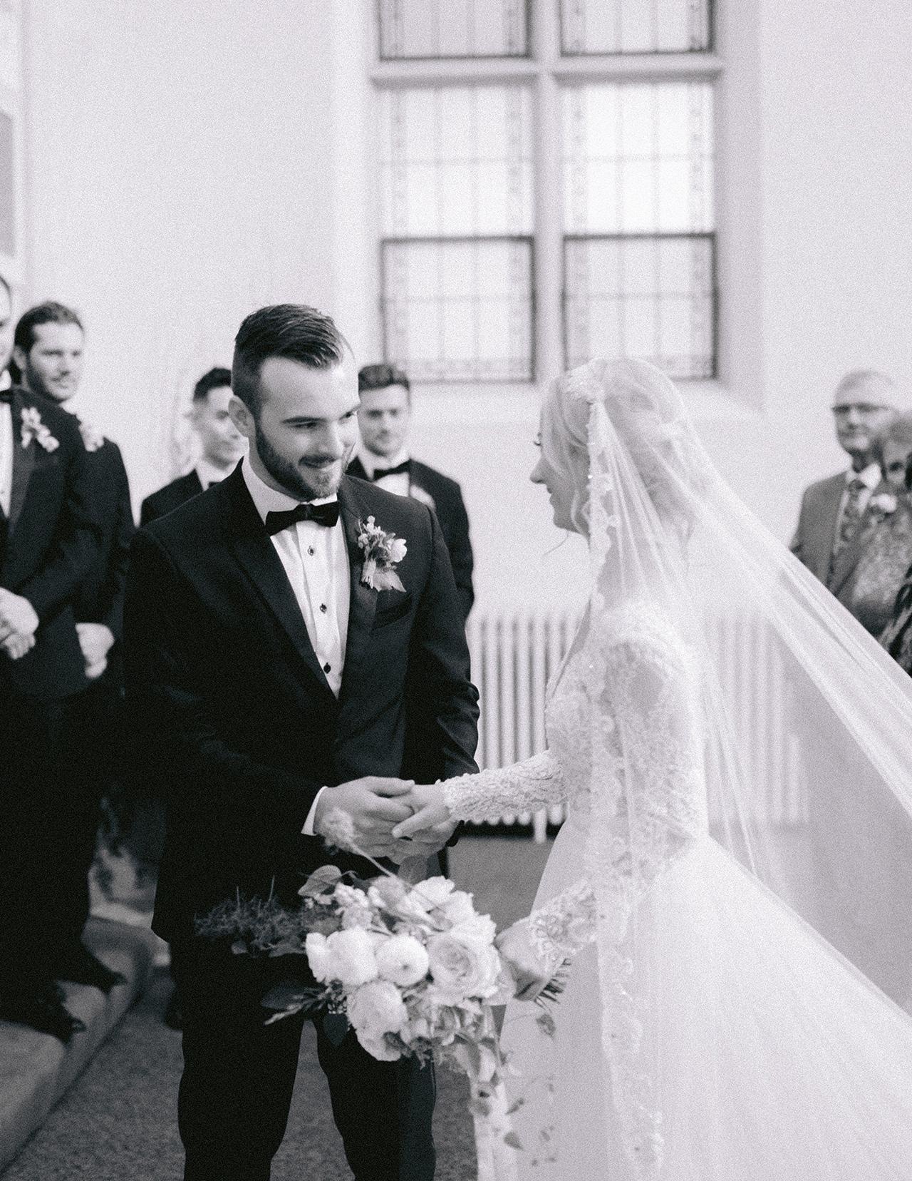 bride groom wedding processional indoors