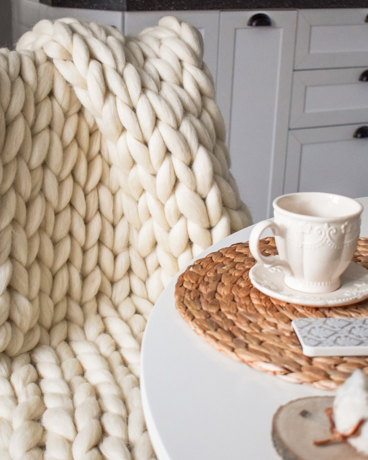 Sheps Wool Chunky Knit Blanket
