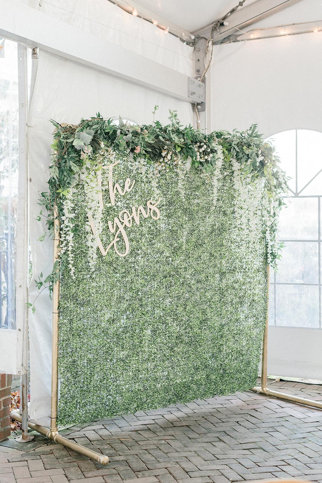 greenery wedding backdrop