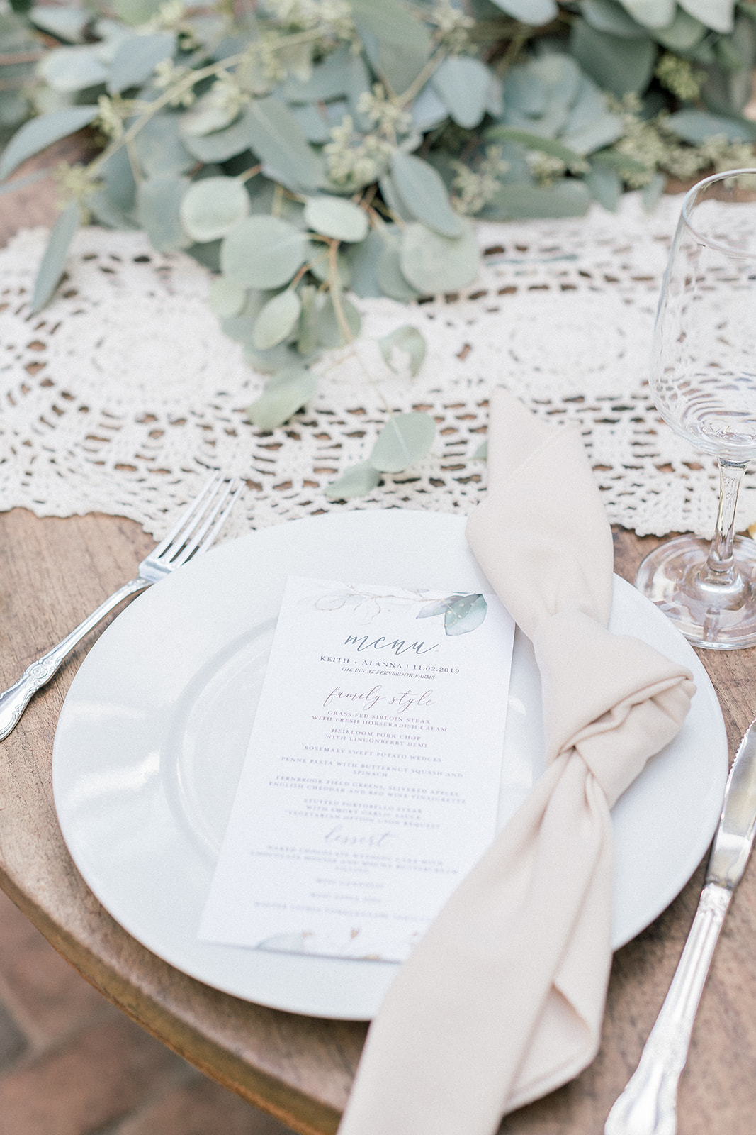 simple white and cream wedding table setting