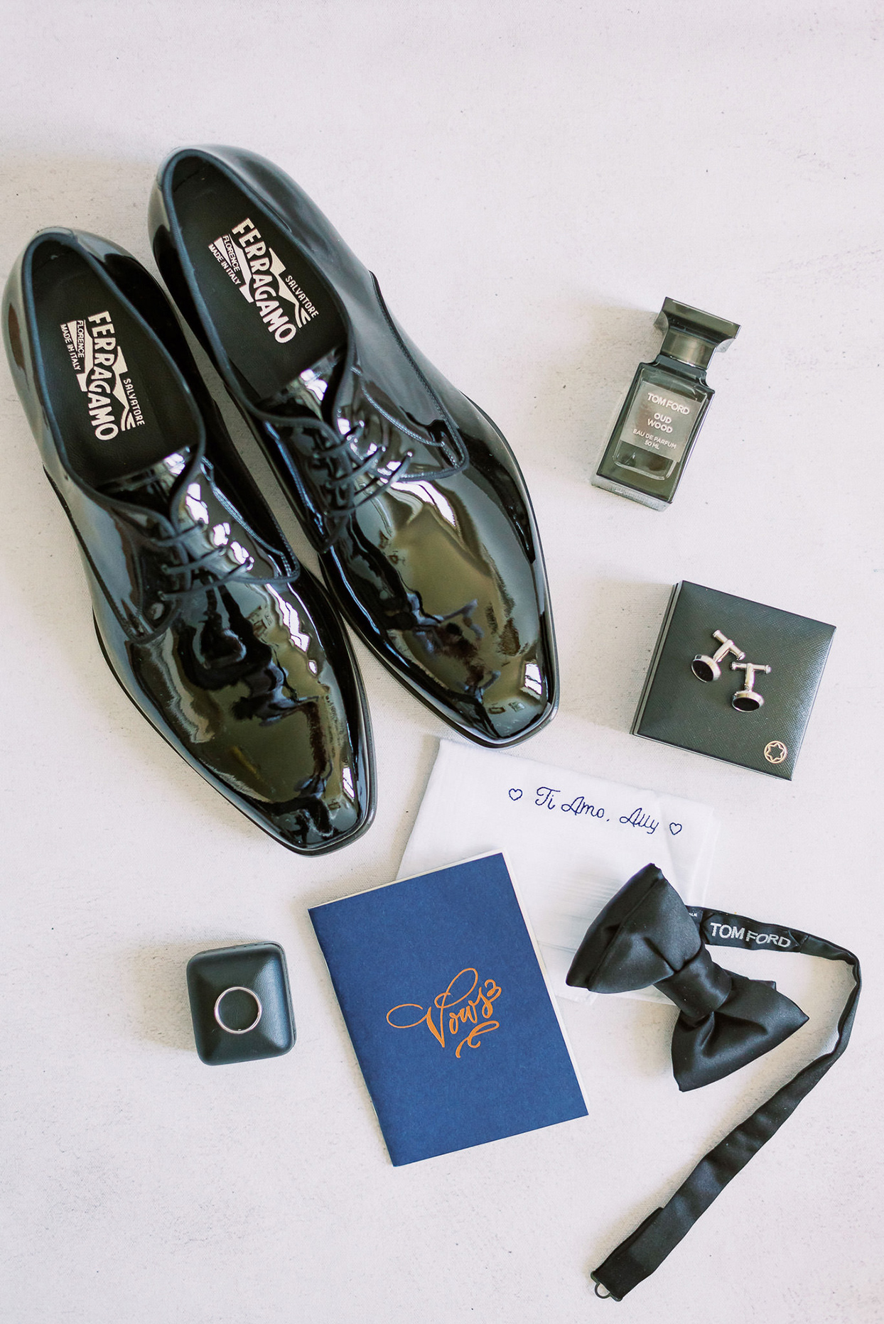 ally brian groom's wedding accessories shoes, ring, blue tie, vows