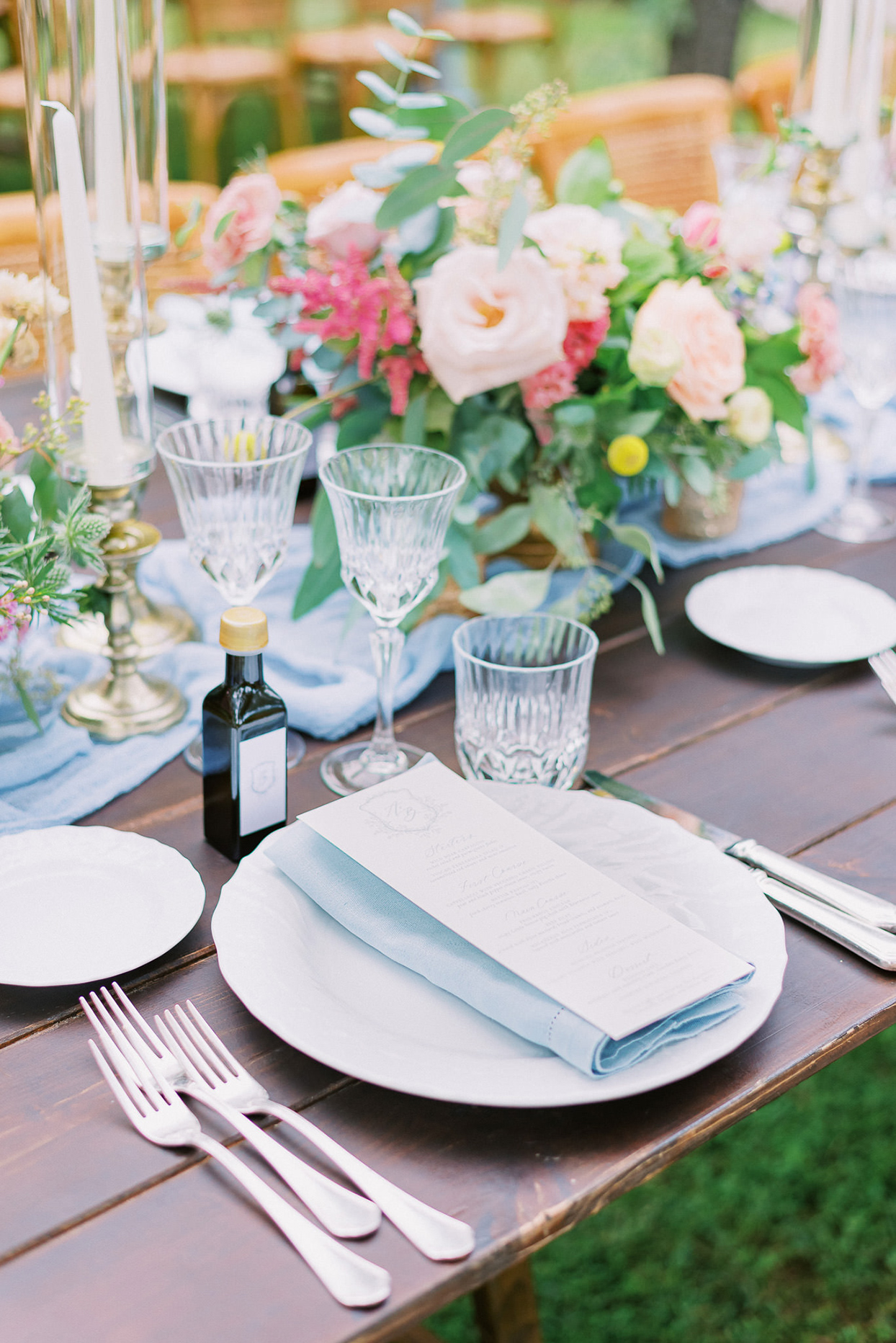 ally brian wedding place setting with menu