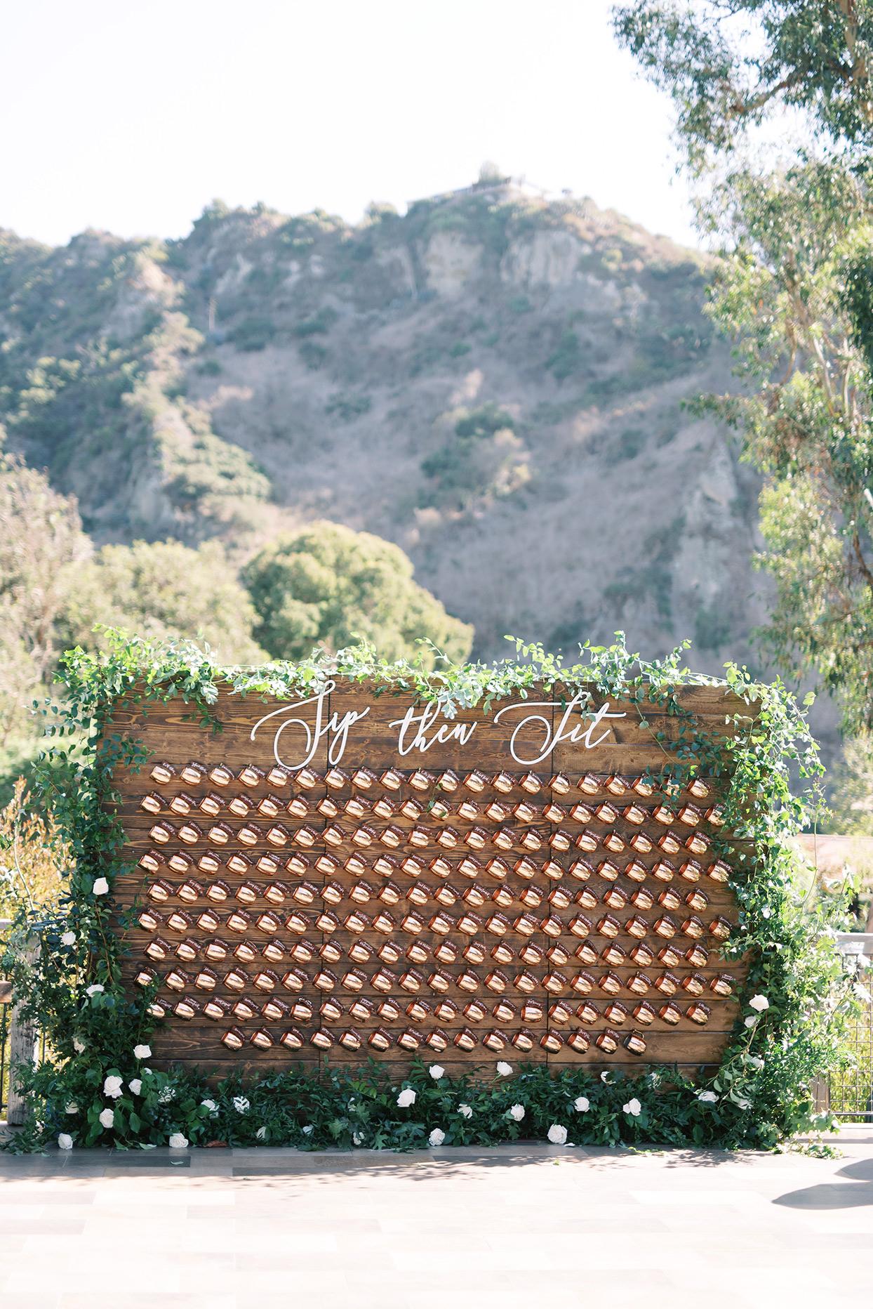 amanda will wedding seating chart copper mugs