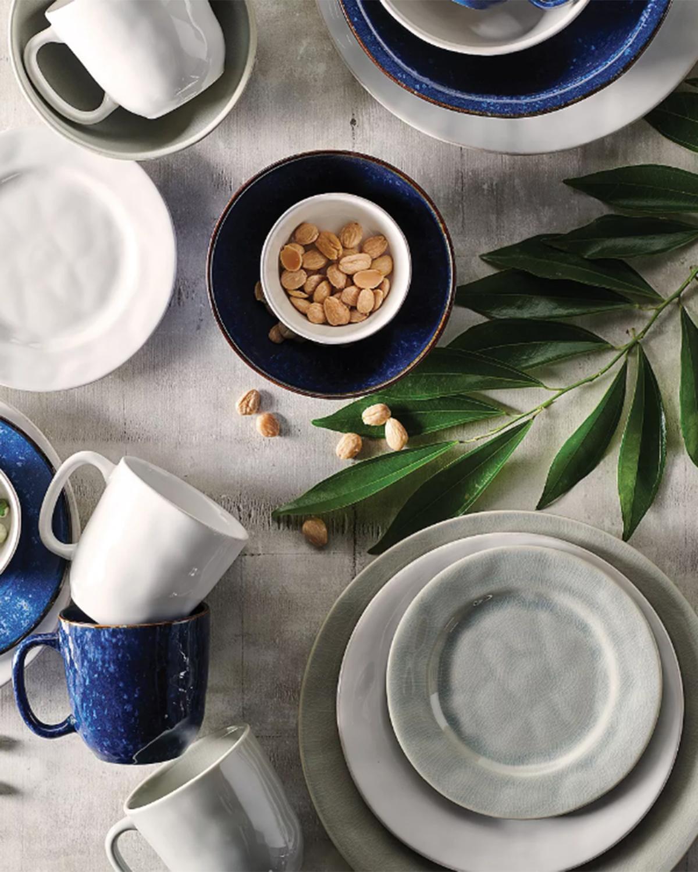gray and navy kitchenware