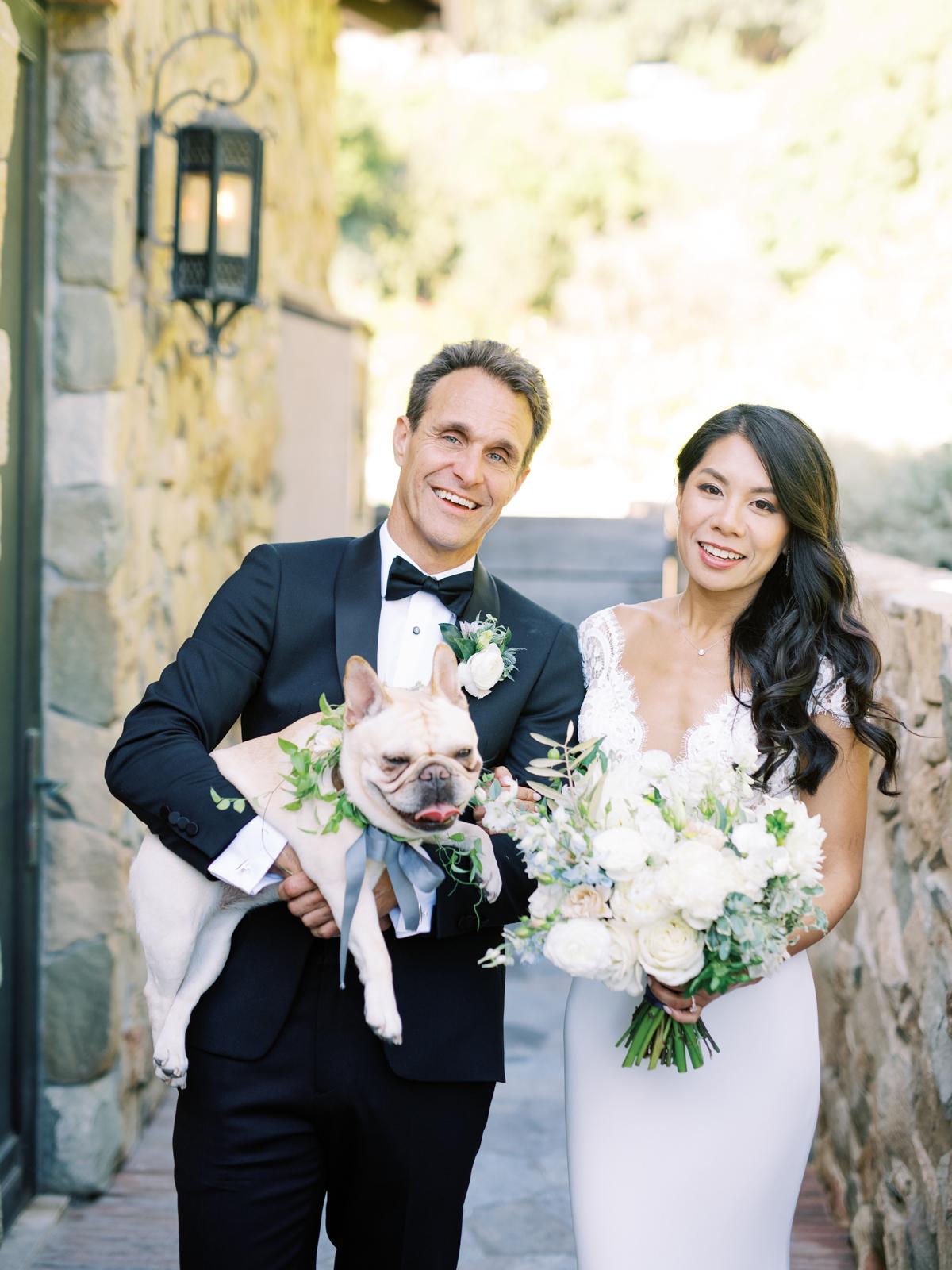 bettina gino wedding couple with bulldog