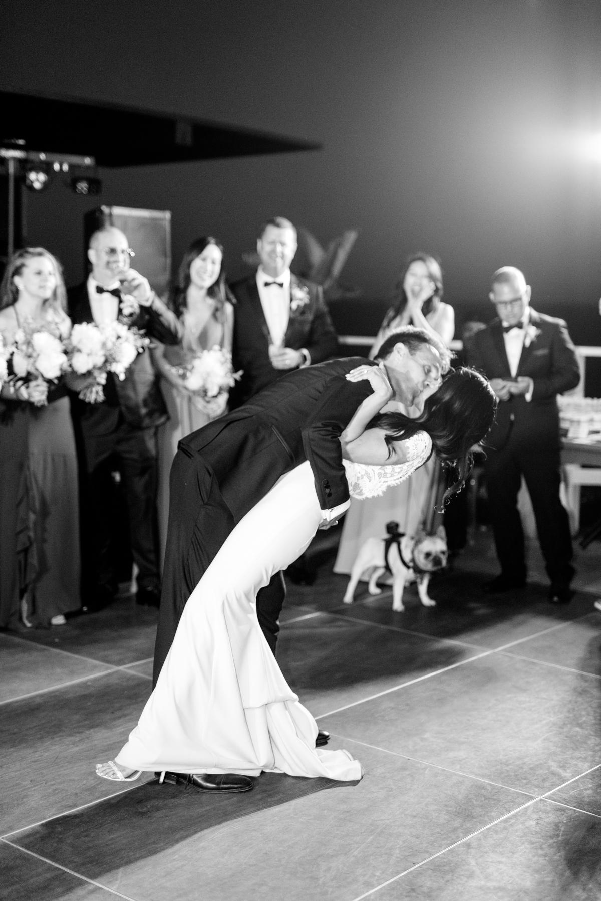 bettina gino wedding first dance dip and kiss