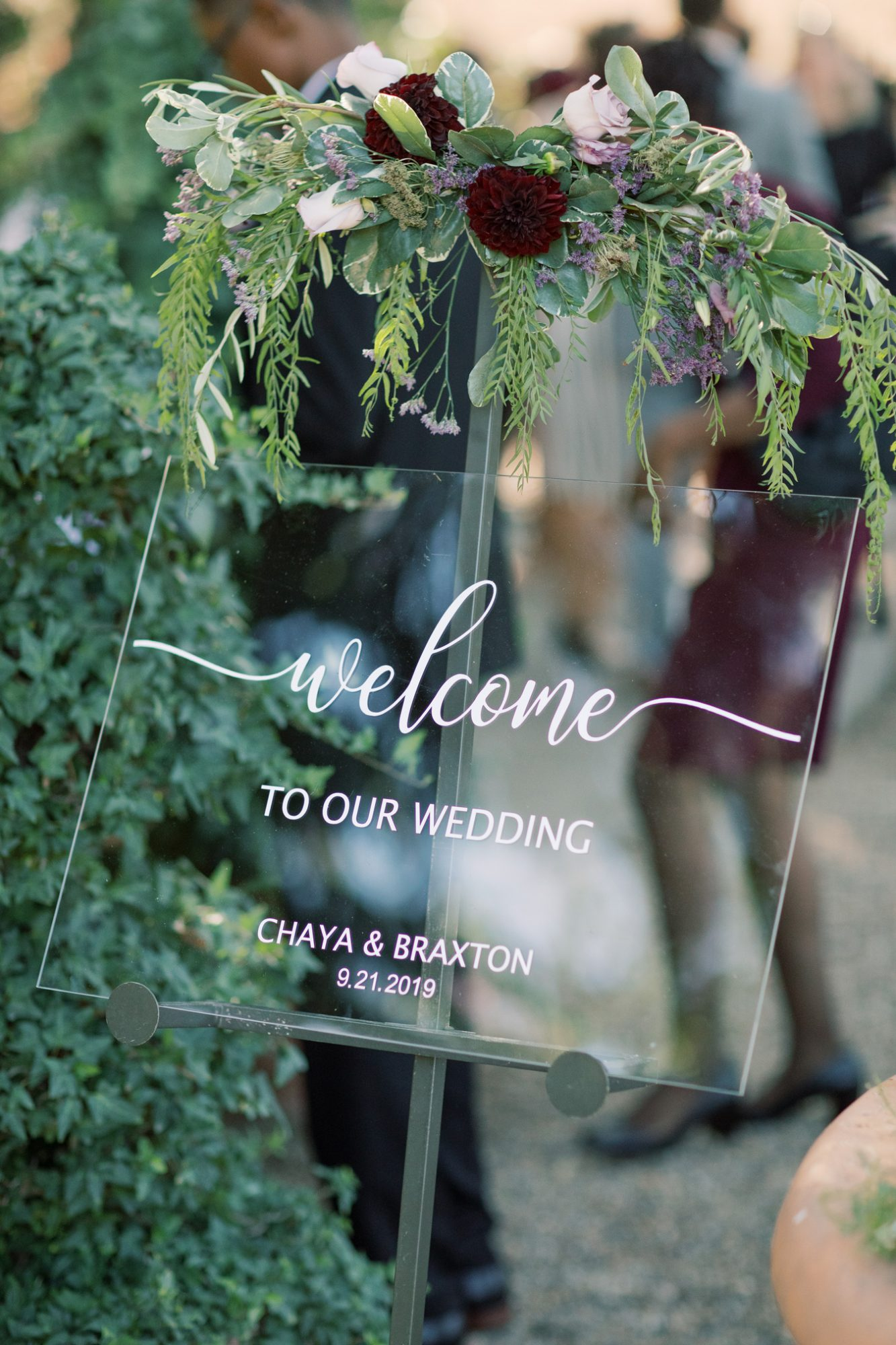 glass Welcome to our Wedding sign