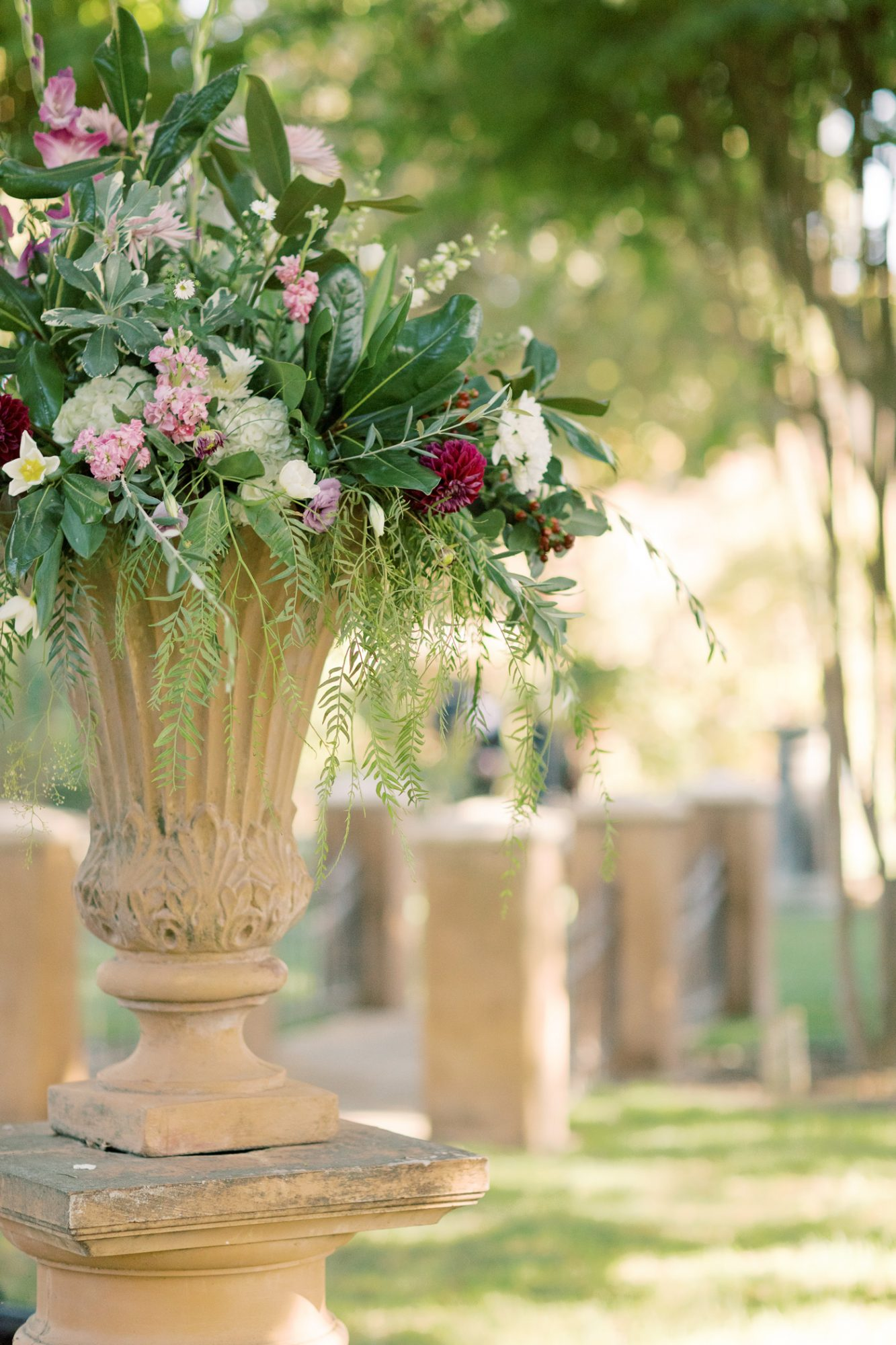 wedding flowers in outdoor vase