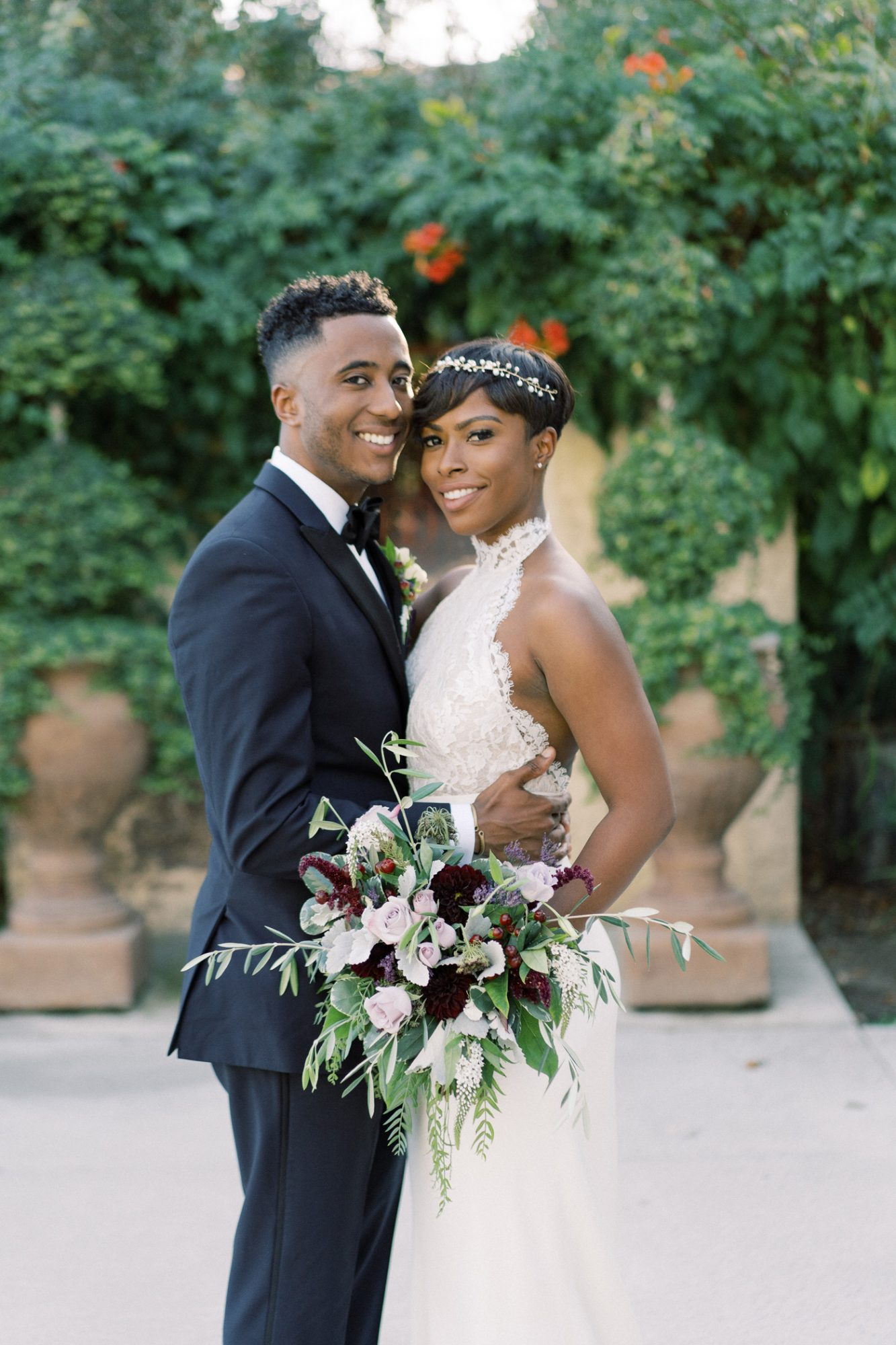 Chaya and Braxton outdoor wedding portrait
