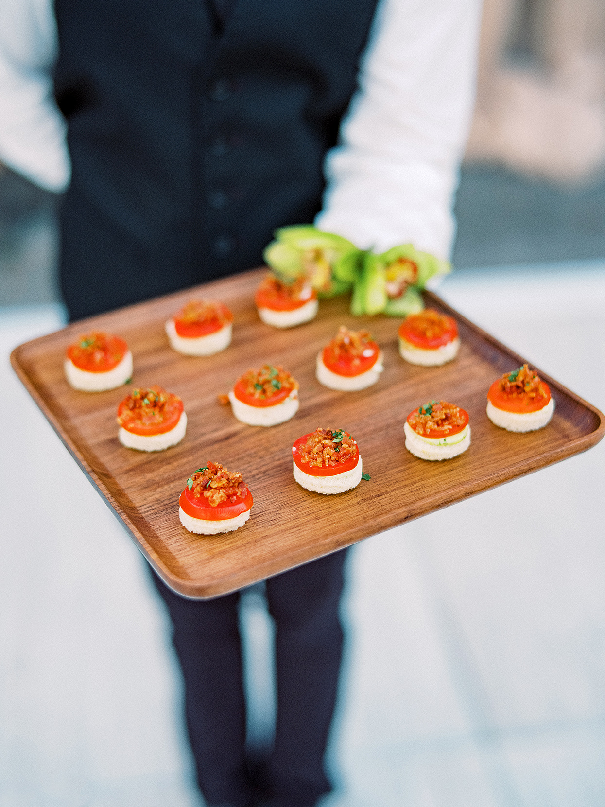 Claire and Dan's reception food tray with mini BLTs