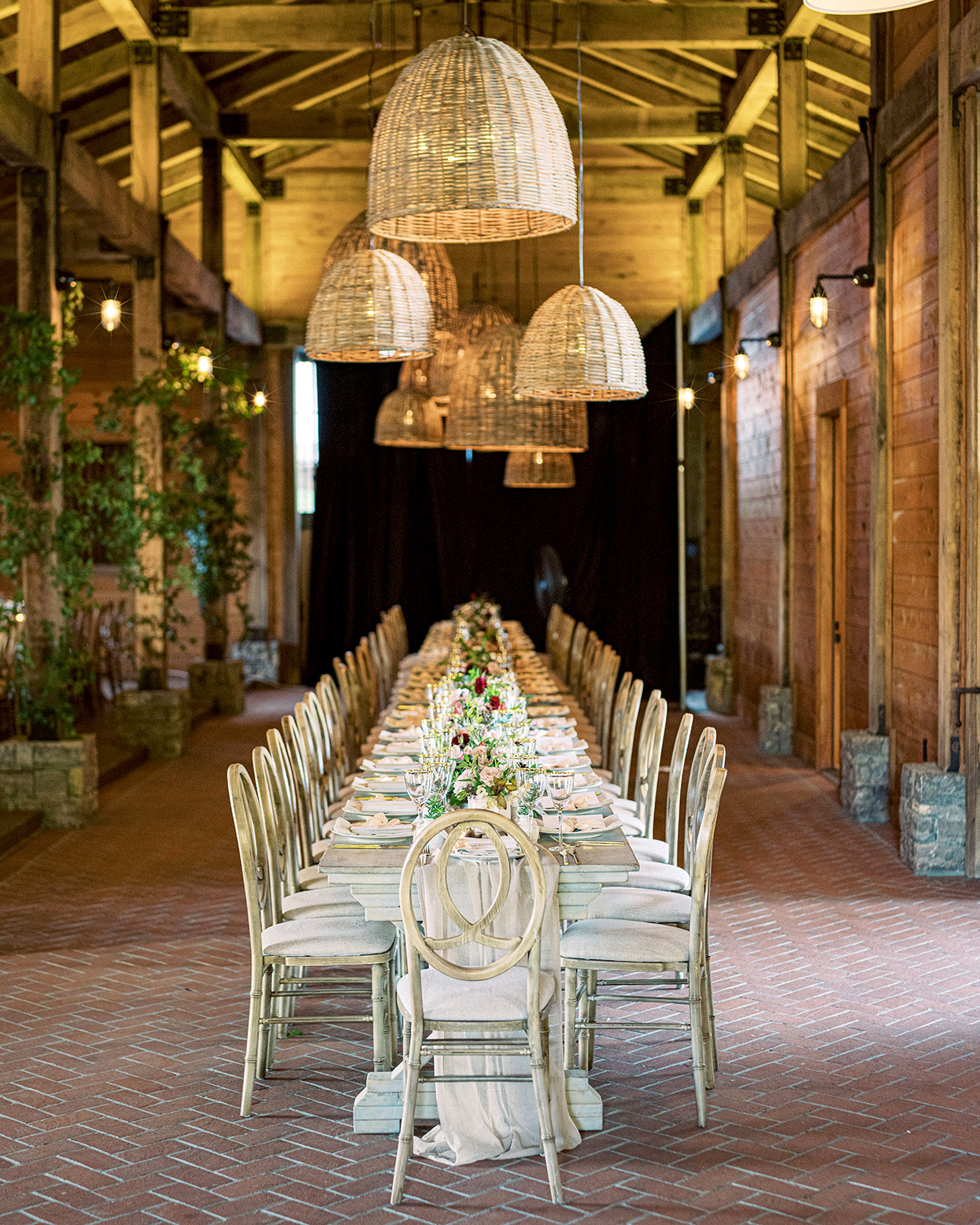 Claire and Dan's wedding reception banquet table on brick