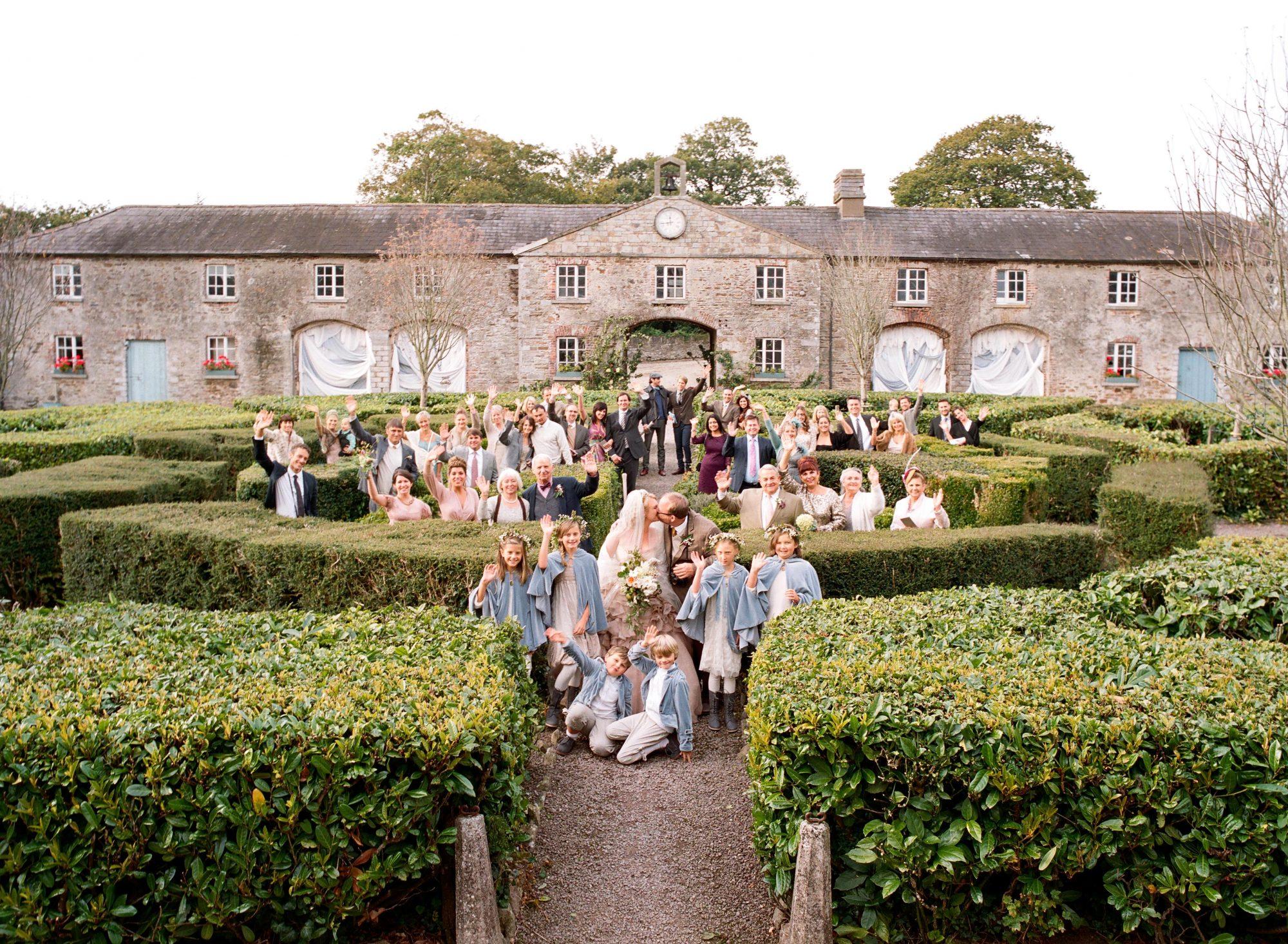 Family photo outside wedding venue