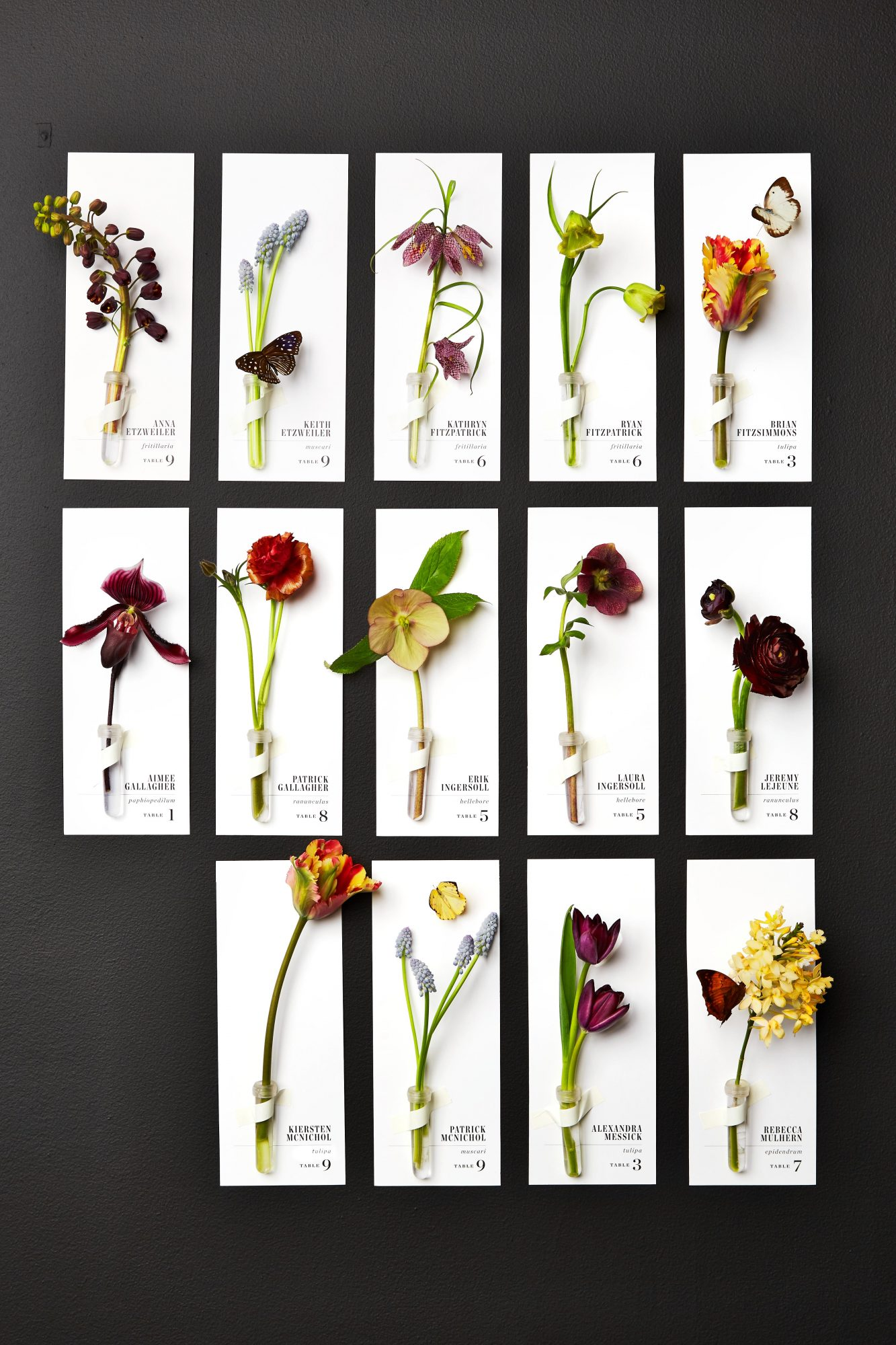 Flower escort cards for guests