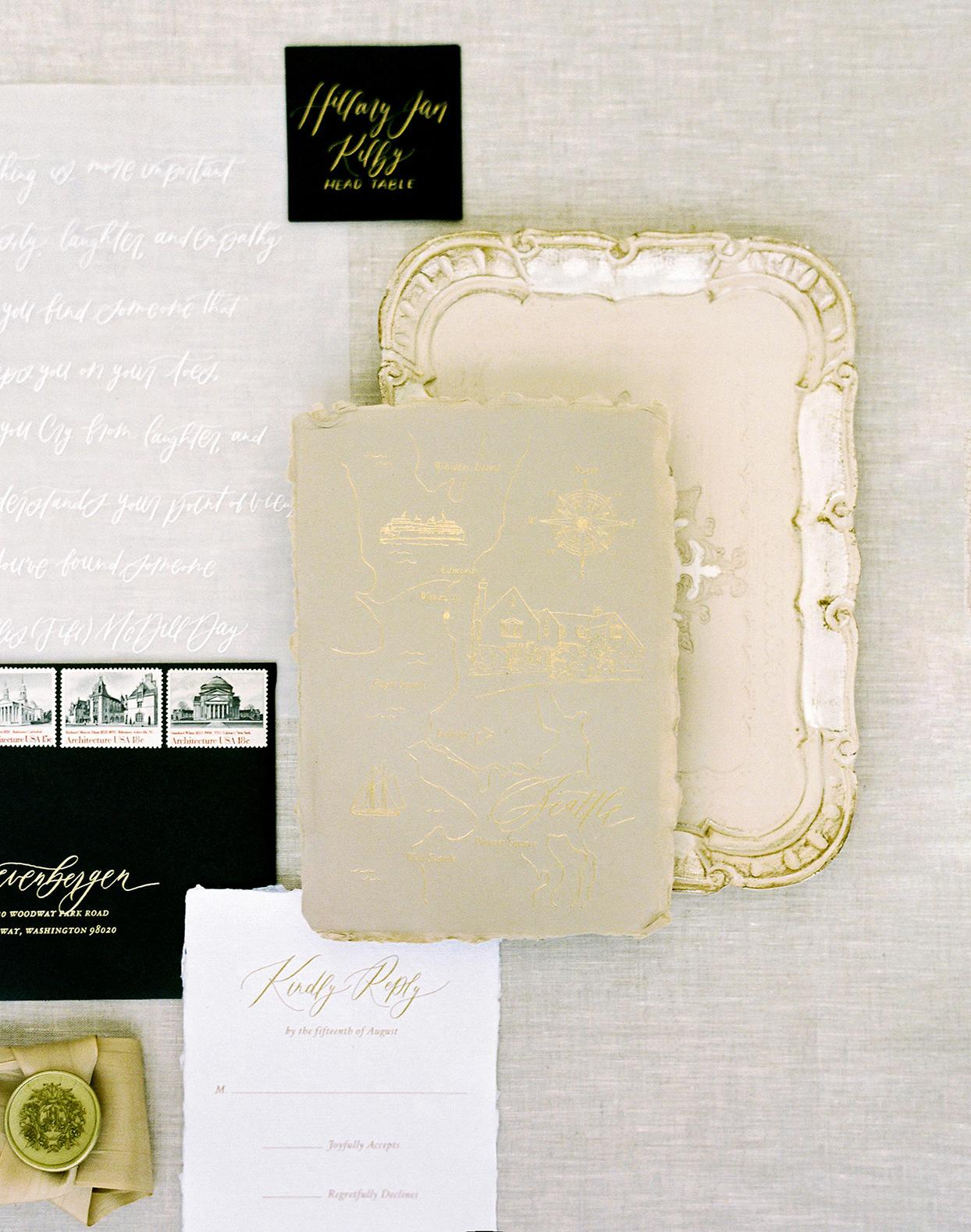 hillary alexander wedding gold invitations