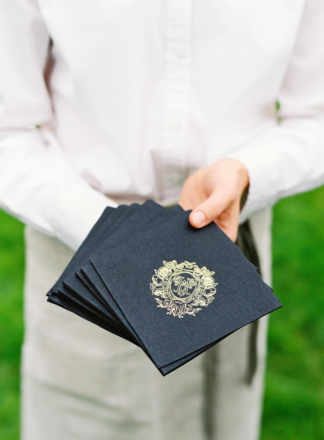 hillary alexander wedding napkins with crest