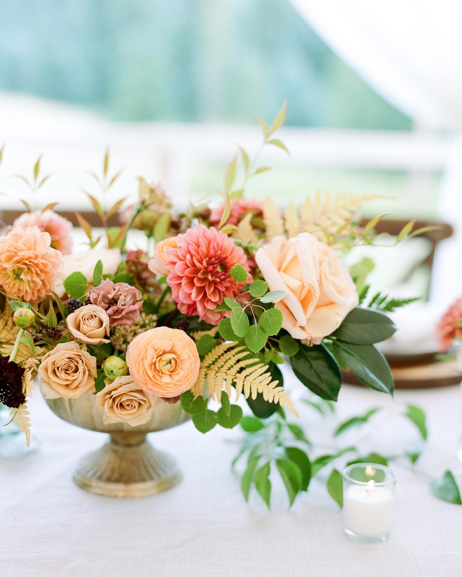 jill phil wedding floral centerpiece in gold vase