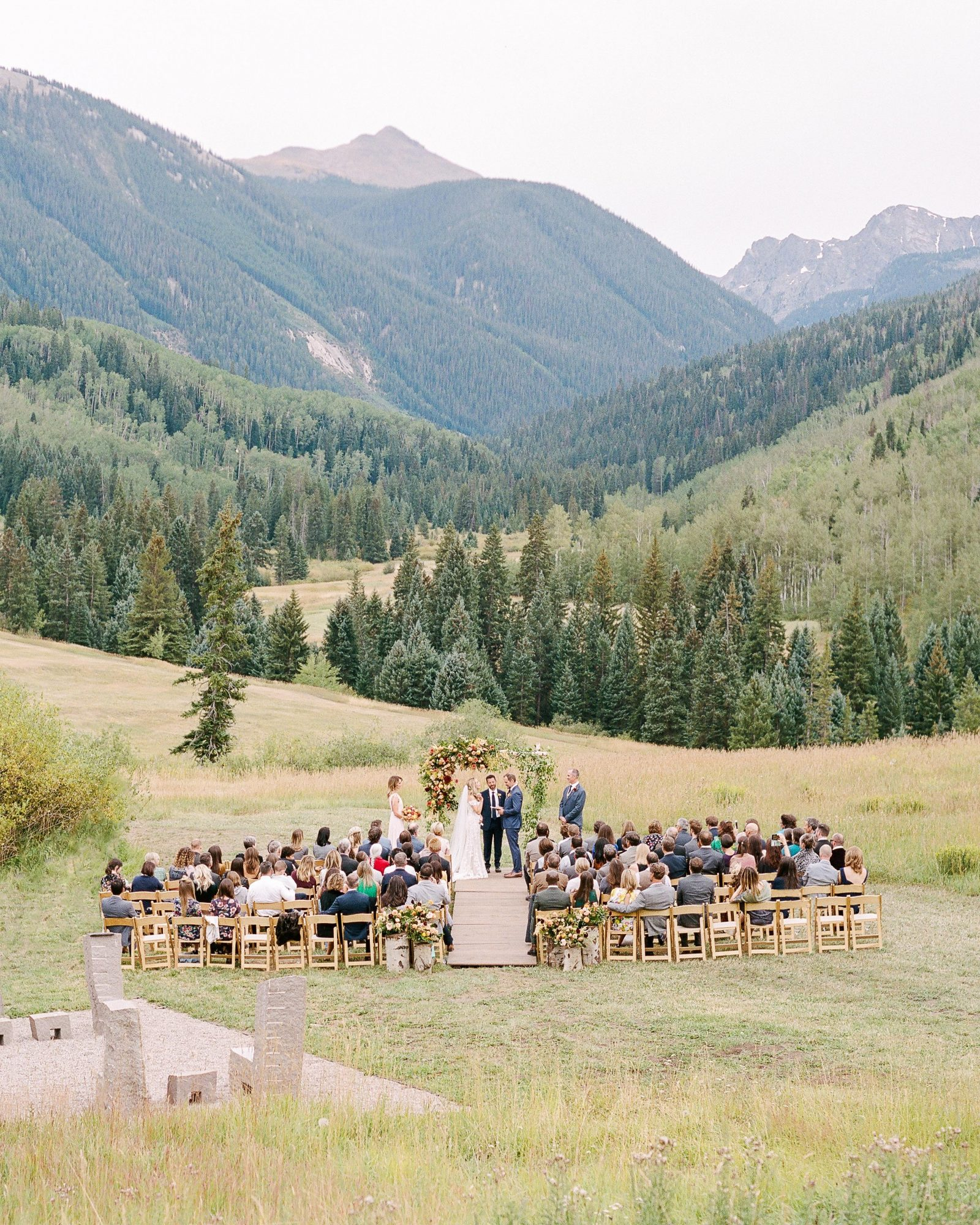jill phil wedding ceremony mountainous outdoor venue